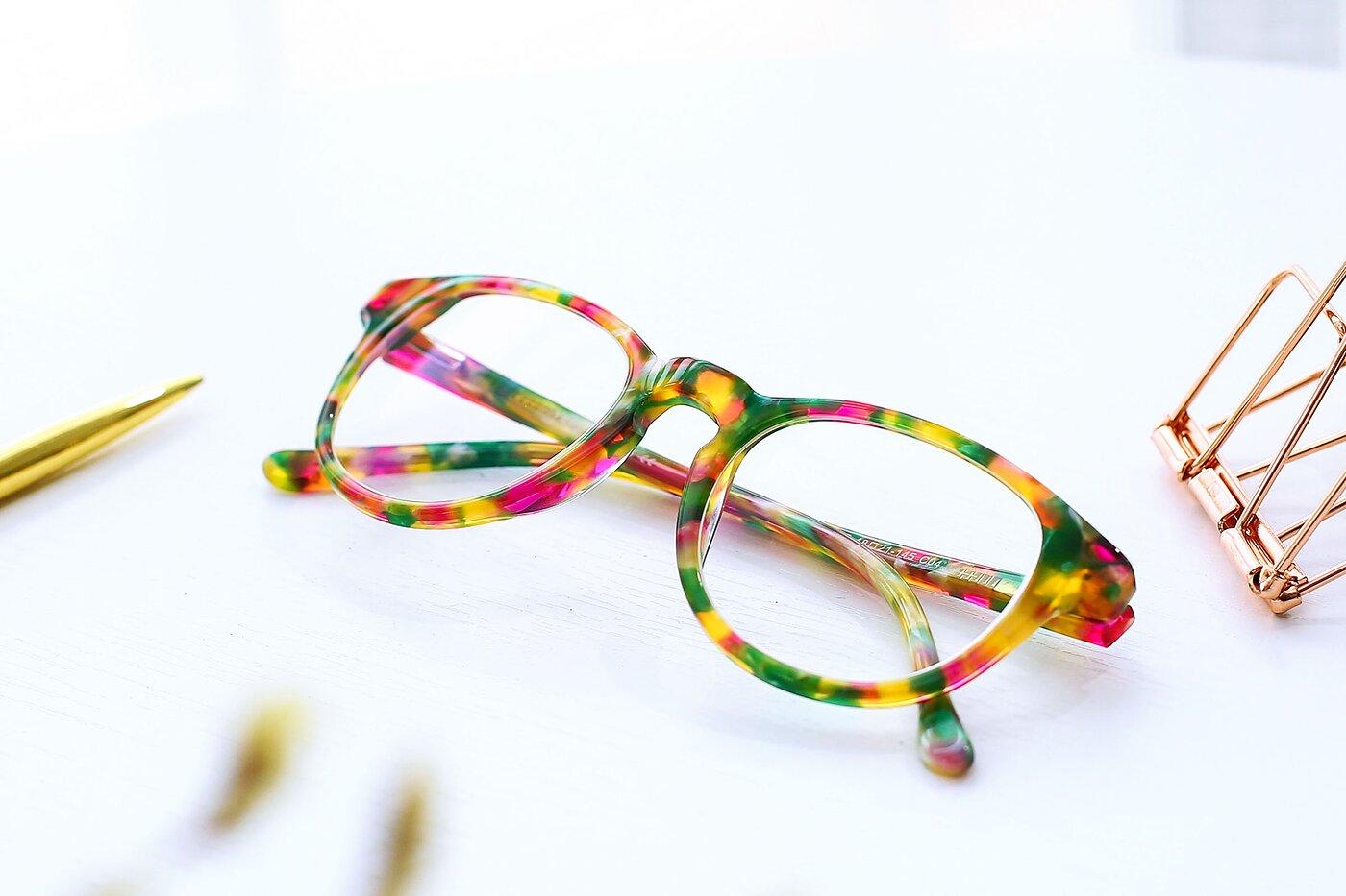 Floral Pink Horn-Rimmed Wayfarer Hipster Eyeglasses