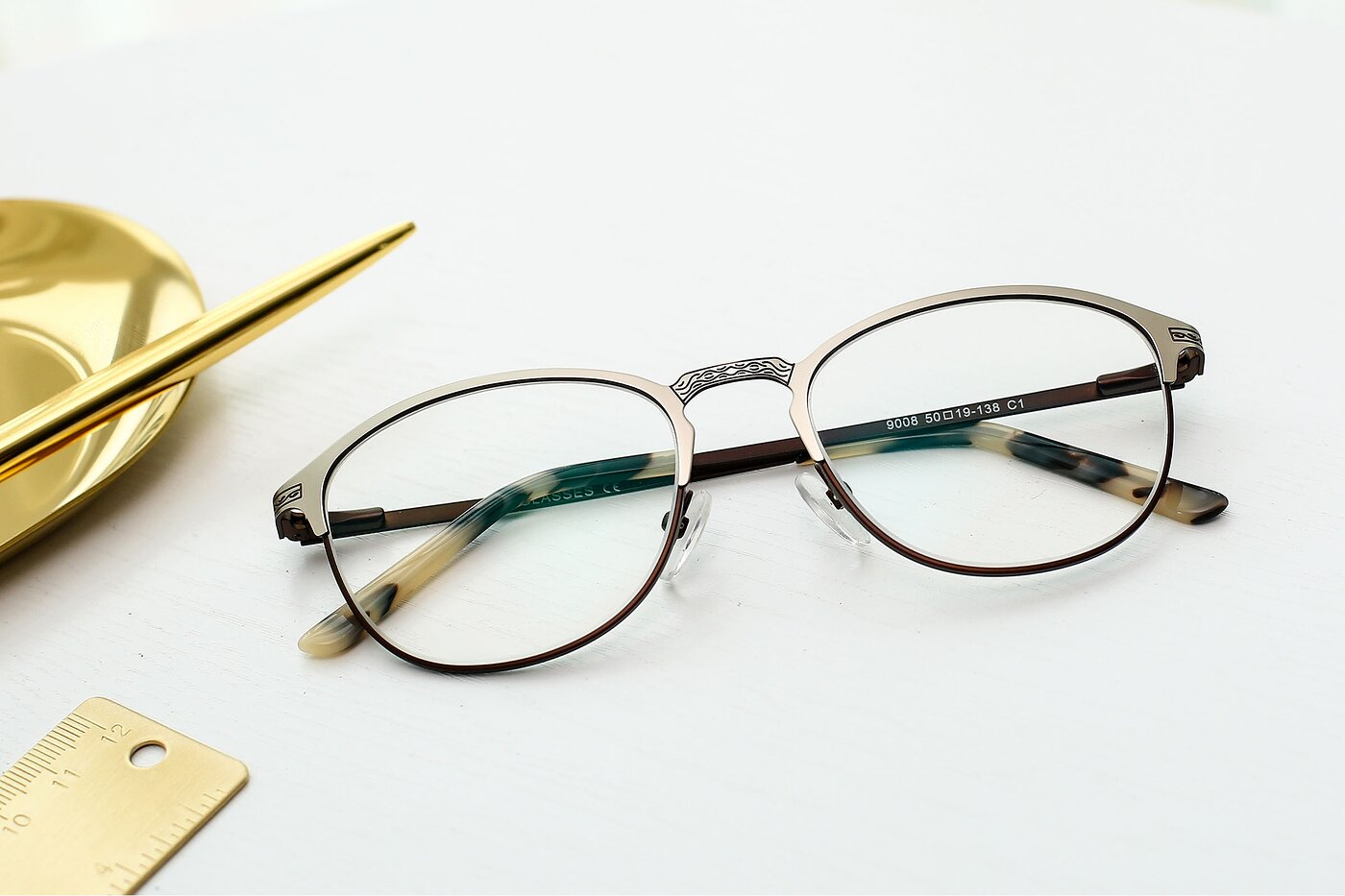 Silver- Chocolate Browline Metal Full-Rim Eyeglasses