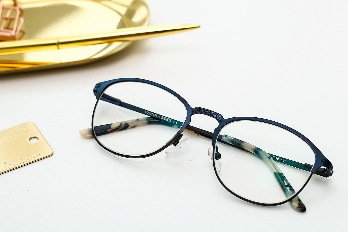 Blue-Black Browline Metal Full-Rim Eyeglasses