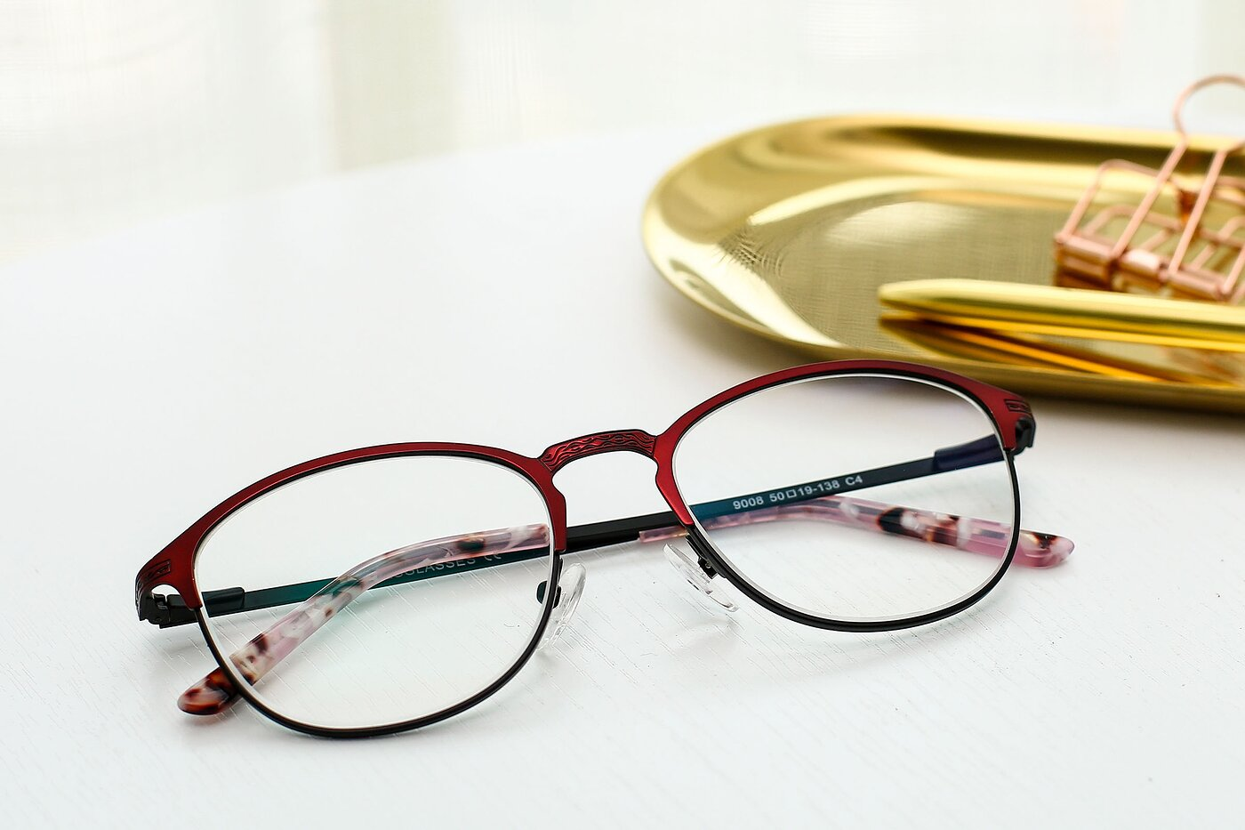 Wine-Black Browline Metal Full-Rim Eyeglasses