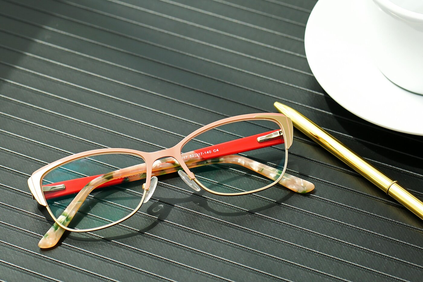 Pink-Gold Browline Retro-Vintage Butterfly Eyeglasses