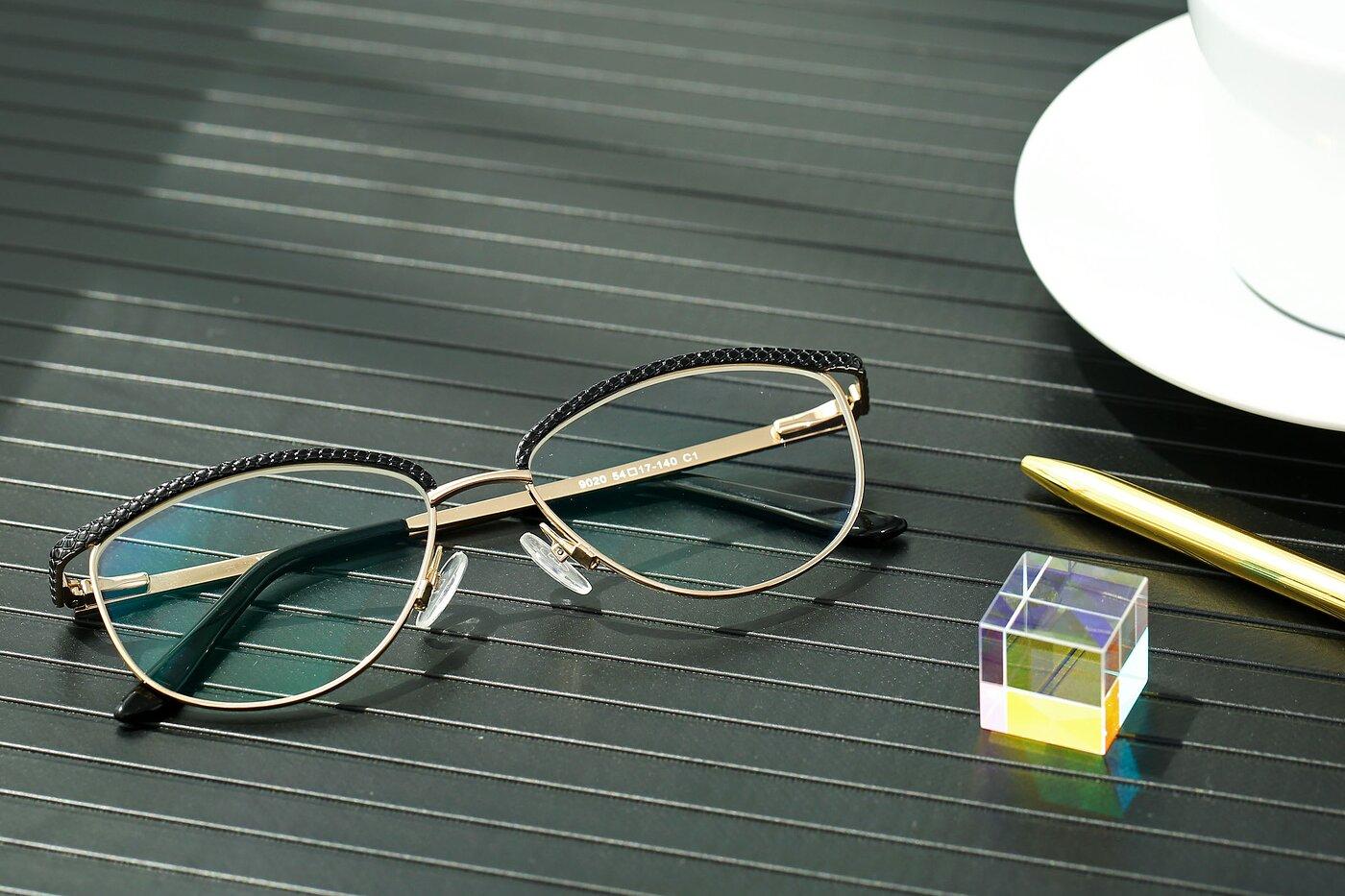 Lase Black-Gold Browline Grandpa Metal Eyeglasses