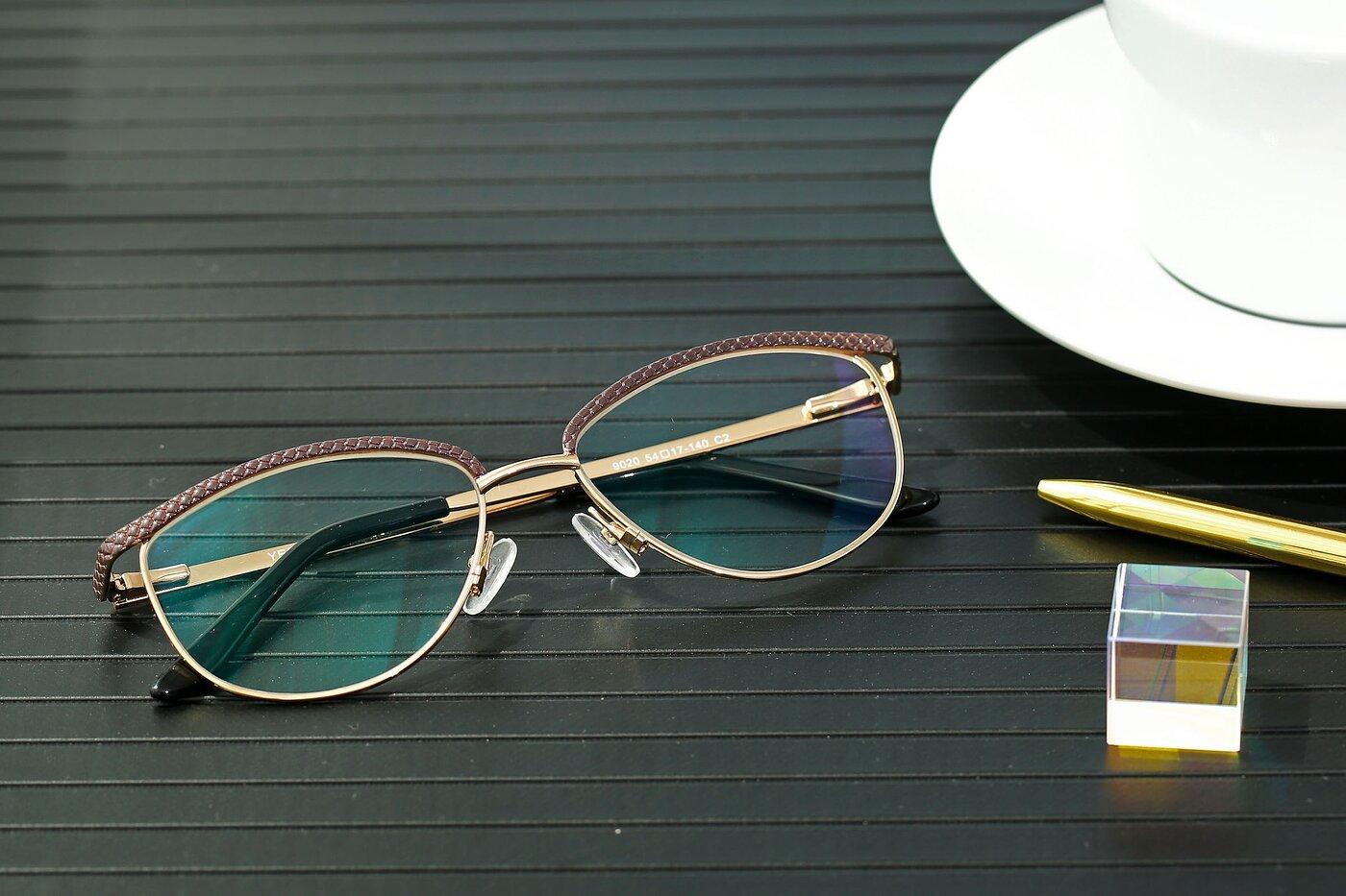 Lase Brown-Gold Browline Grandpa Metal Eyeglasses