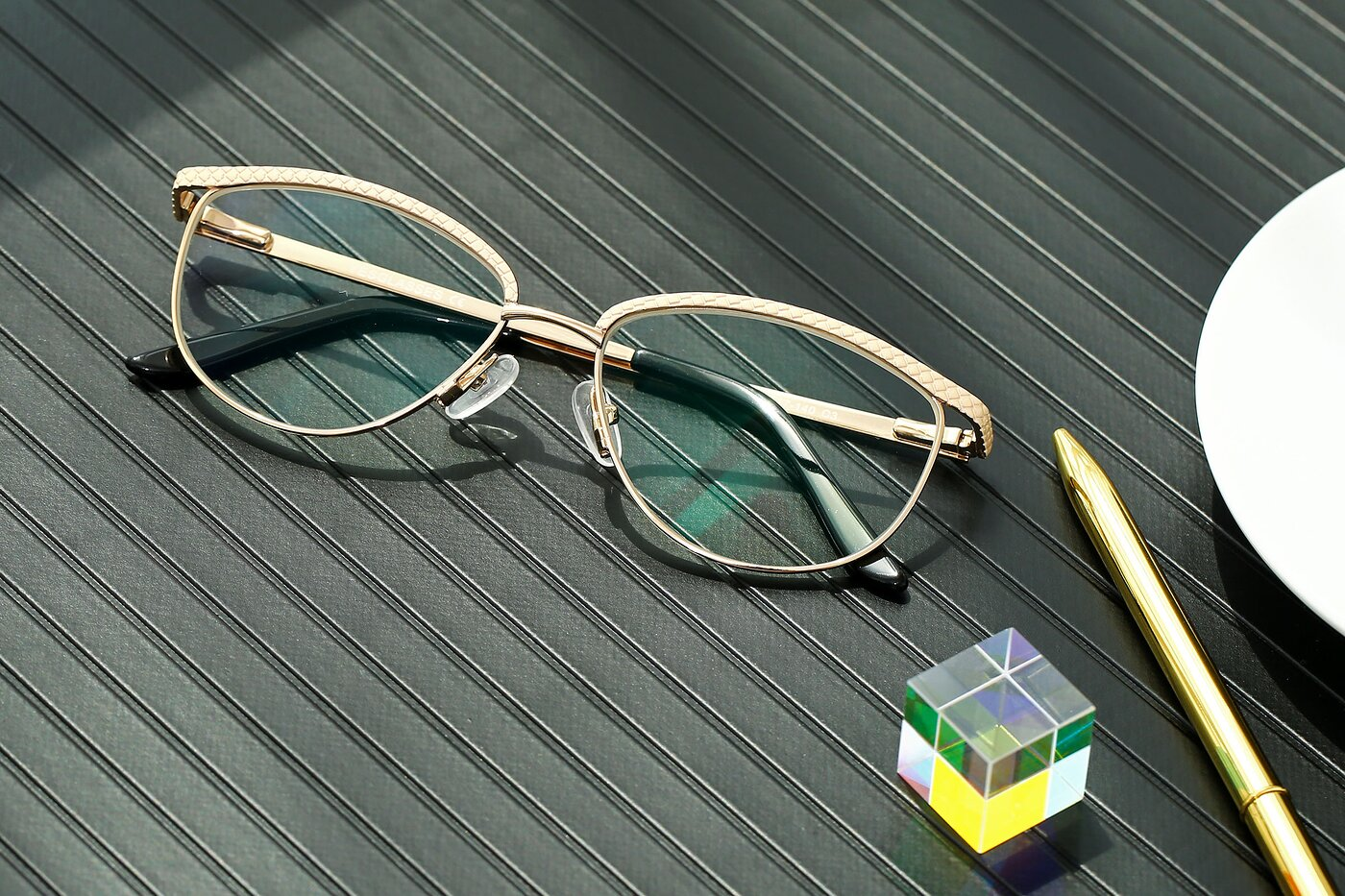 Lase Milk-Gold Browline Grandpa Metal Eyeglasses