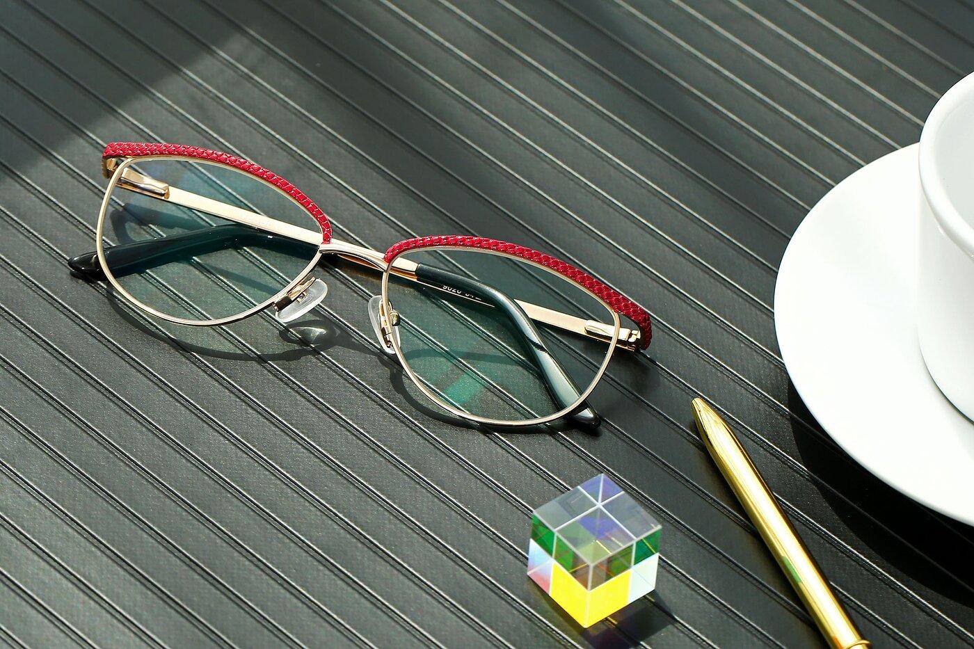 Lase Red-Gold Browline Grandpa Metal Eyeglasses