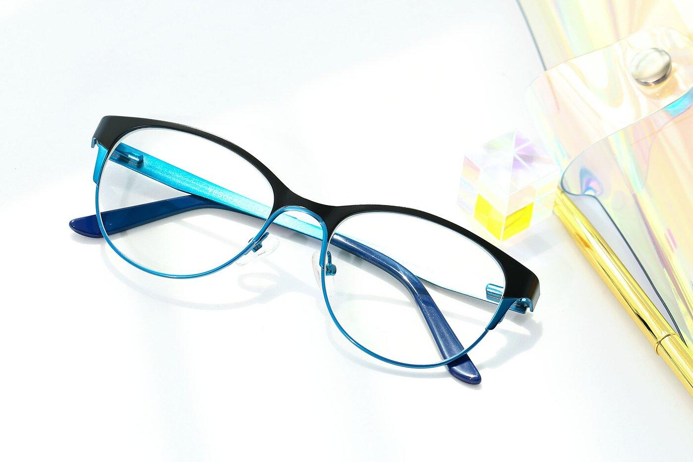 Black-Blue Retro-Vintage Browline Metal Eyeglasses