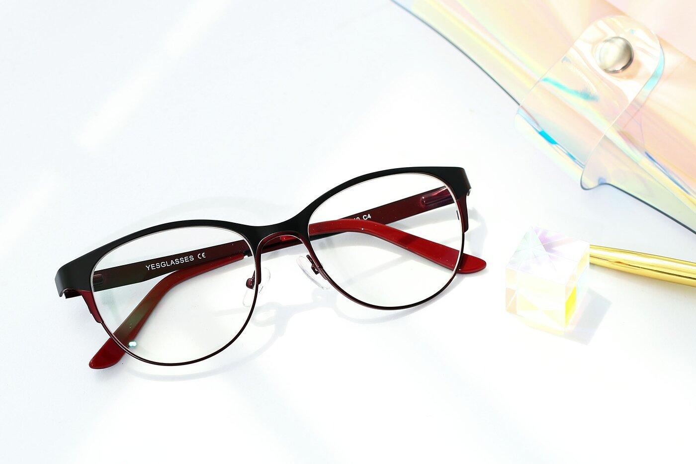 Black-Burgendy Retro-Vintage Browline Metal Eyeglasses