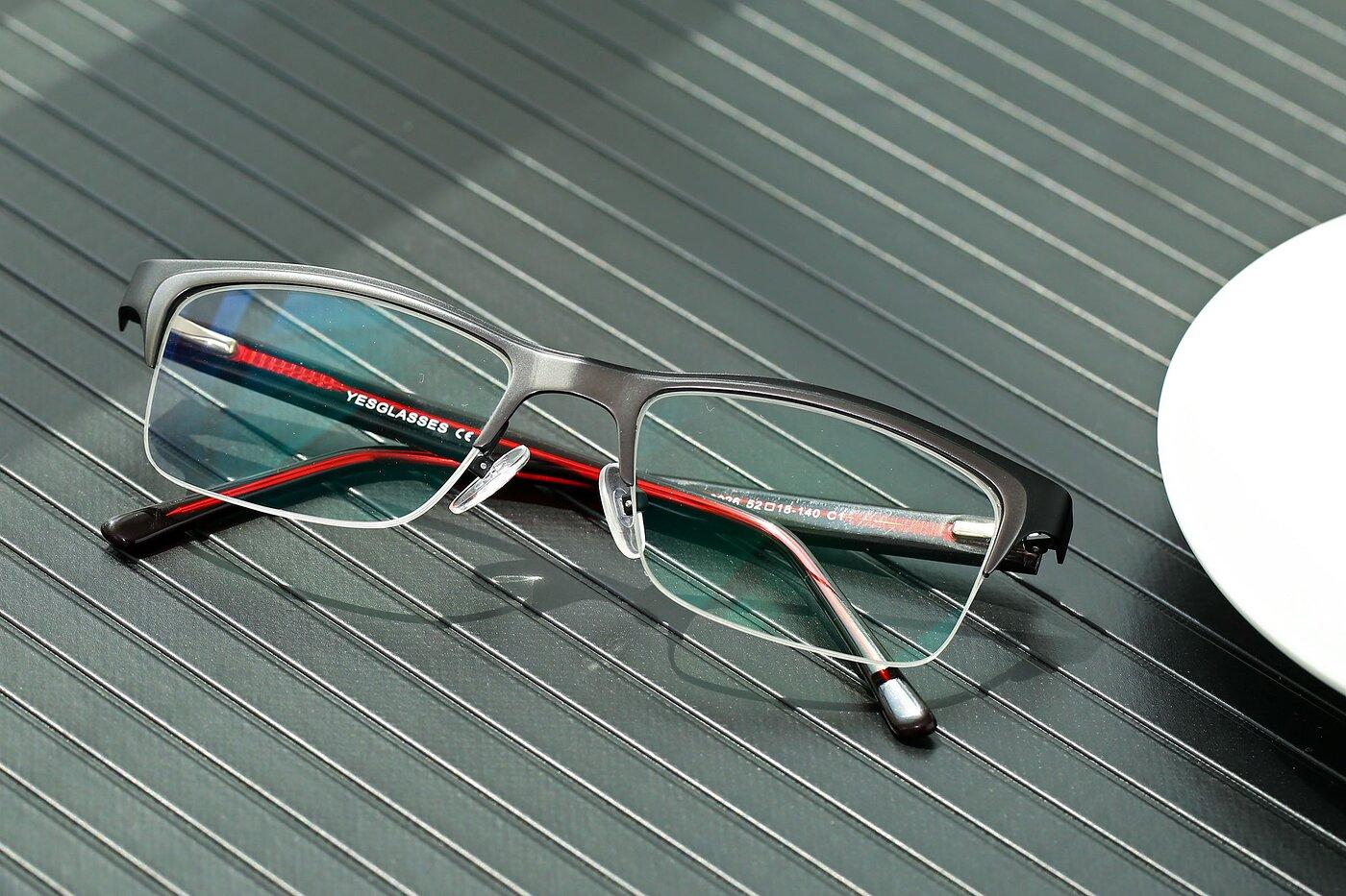 Black-Gun Browline Metal Rectangle Eyeglasses
