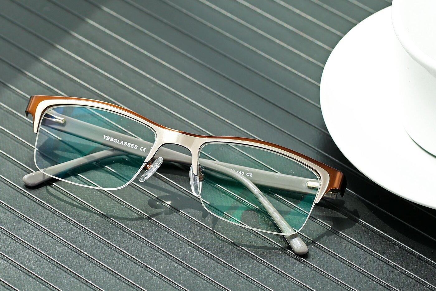 Coffee-Silver Browline Metal Rectangle Eyeglasses