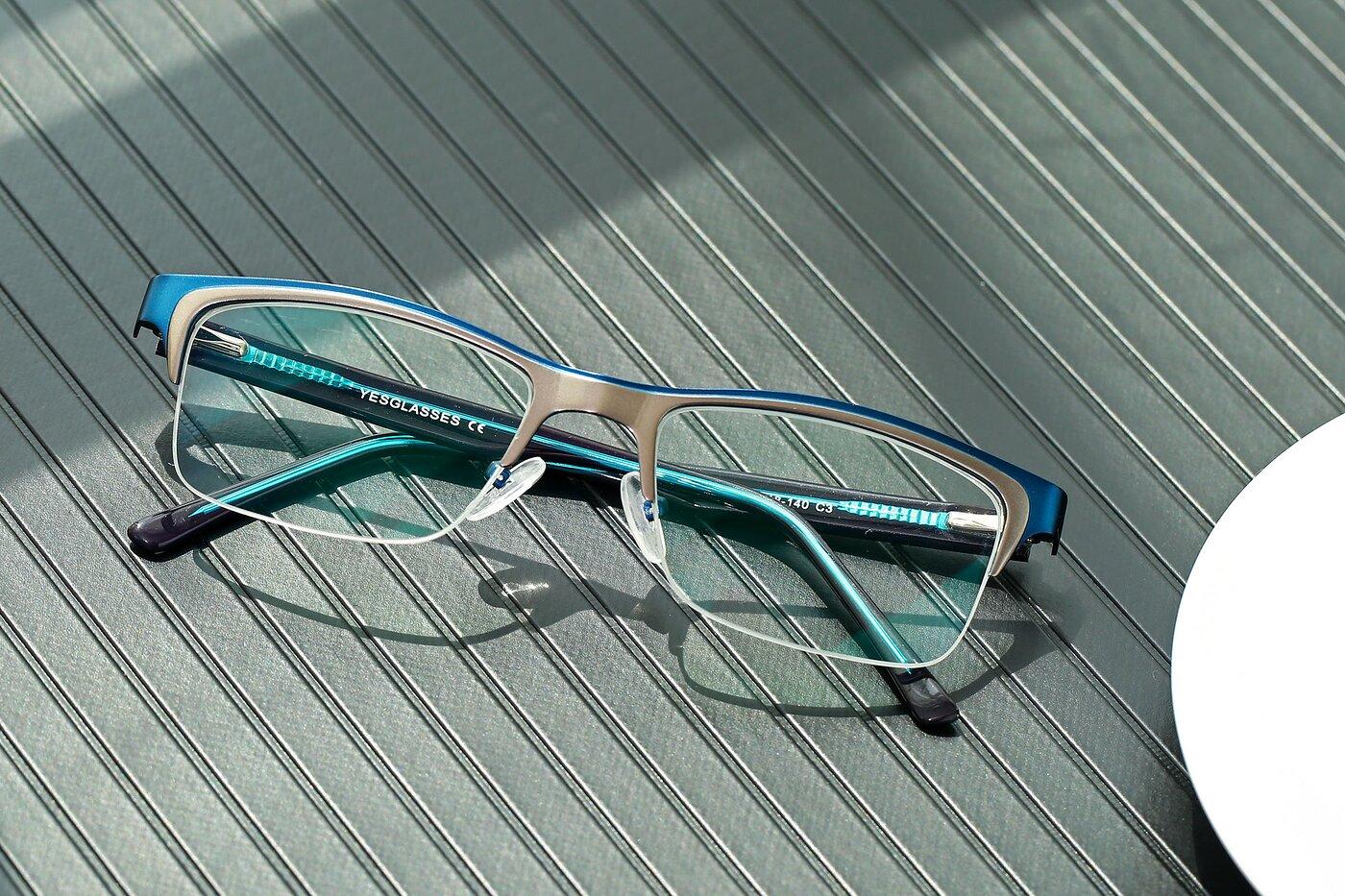 Blue-Gun Browline Metal Rectangle Eyeglasses