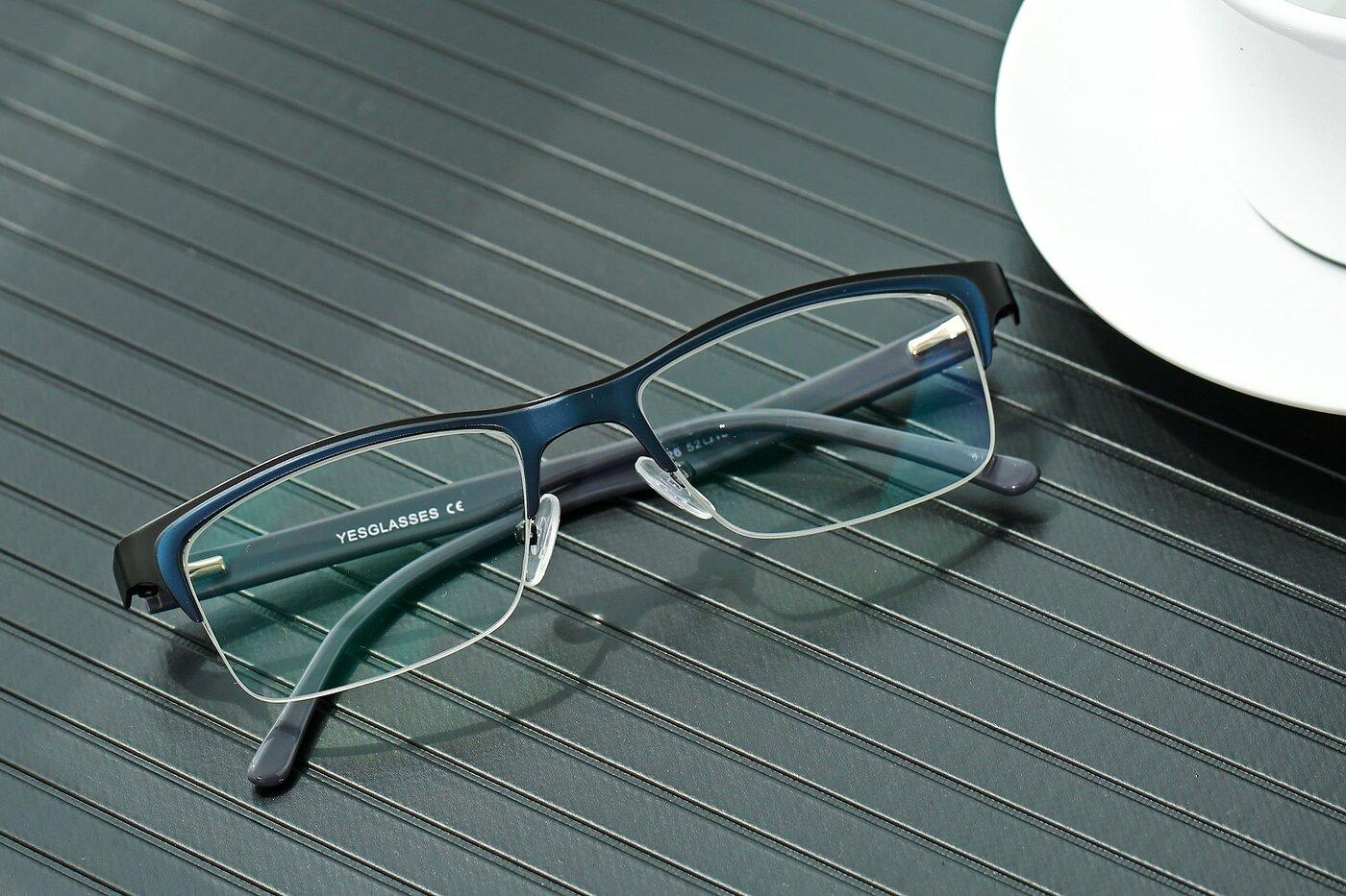Black-Blue Browline Metal Rectangle Eyeglasses