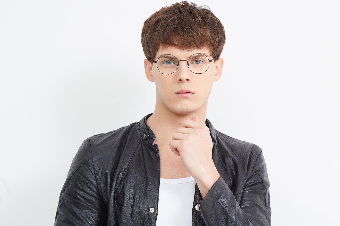 Black Hipster Thin Geometric Eyeglasses