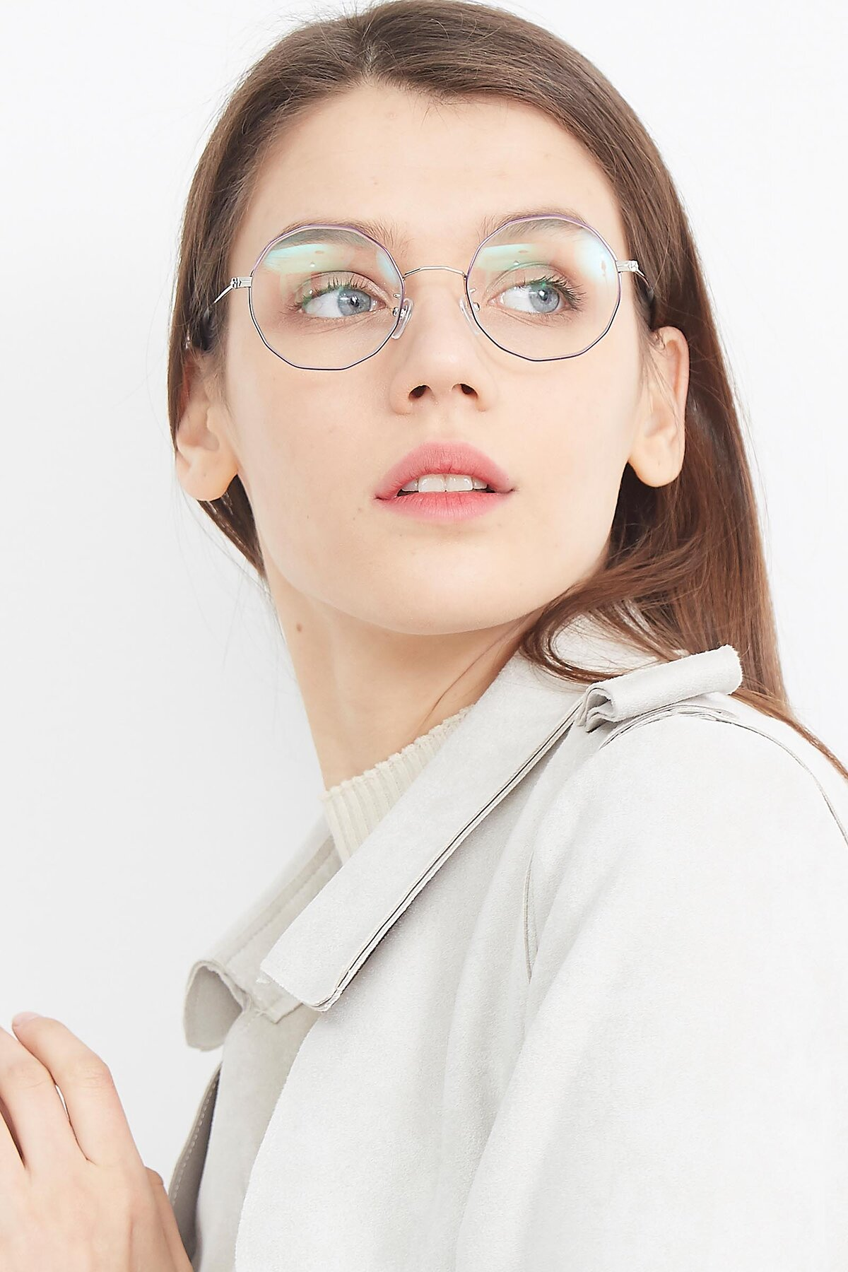 Women's lifestyle photography (portrait-1) of Spyder in Silver- Purple with Clear Eyeglass Lenses