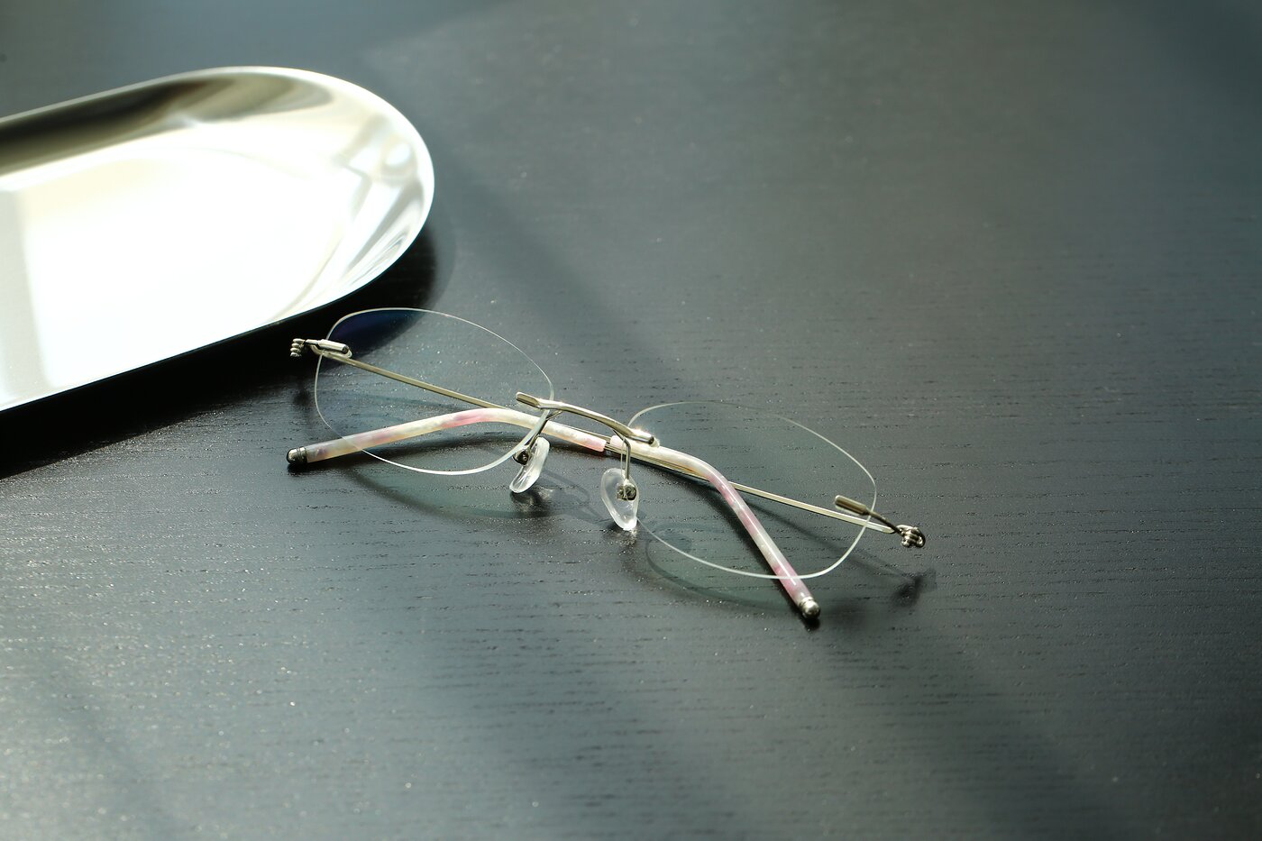 Silver Metal Oval Rimless Eyeglasses