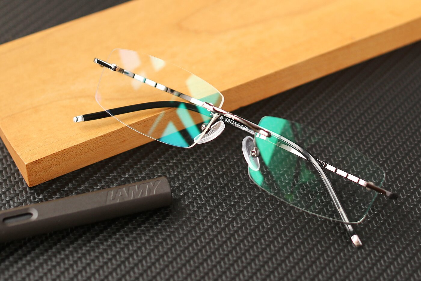 Gunmetal Metal Rectangle Rimless Eyeglasses