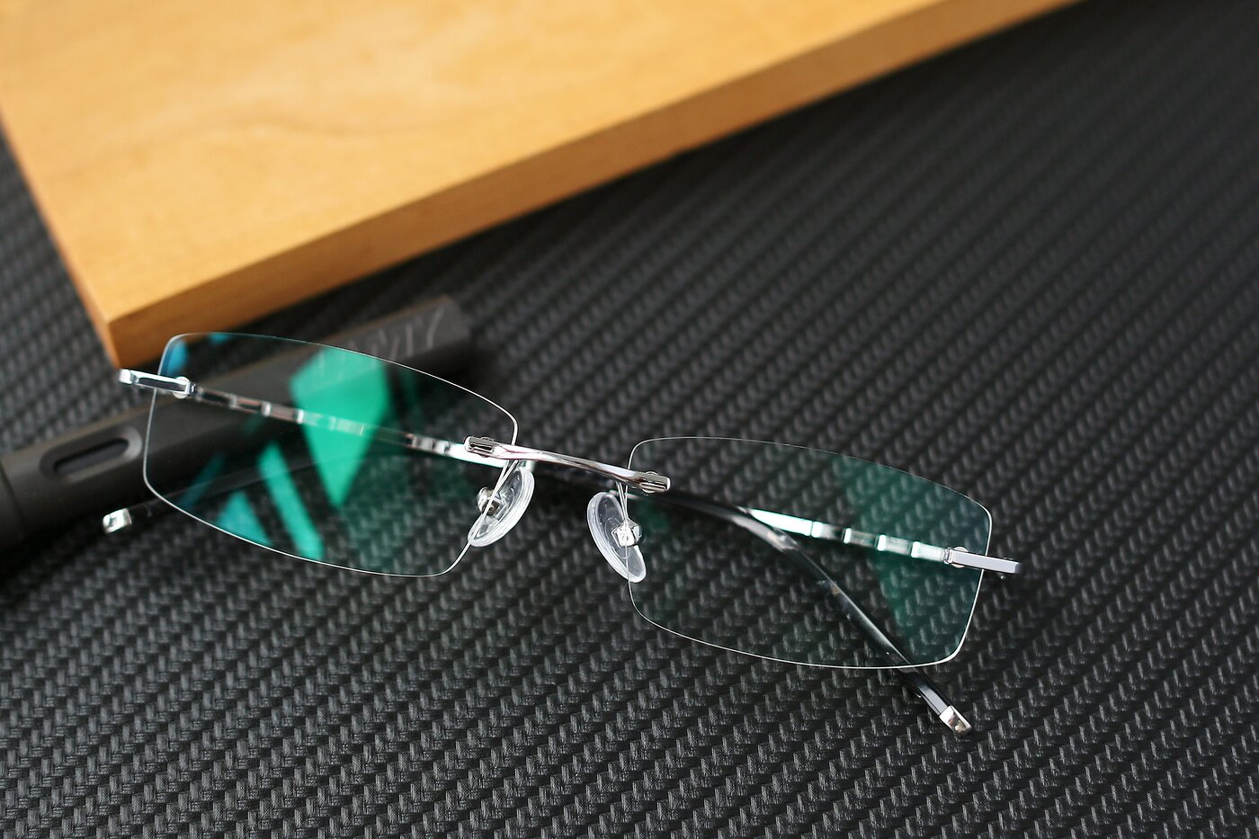 Silver Metal Rectangle Rimless Eyeglasses