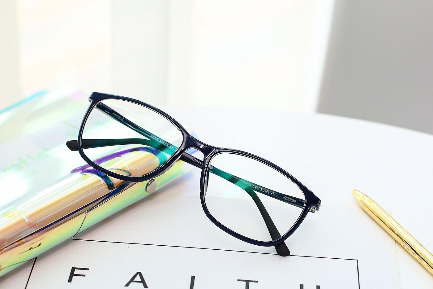 Blue Low Bridge Fit Ultem Rectangle Eyeglasses