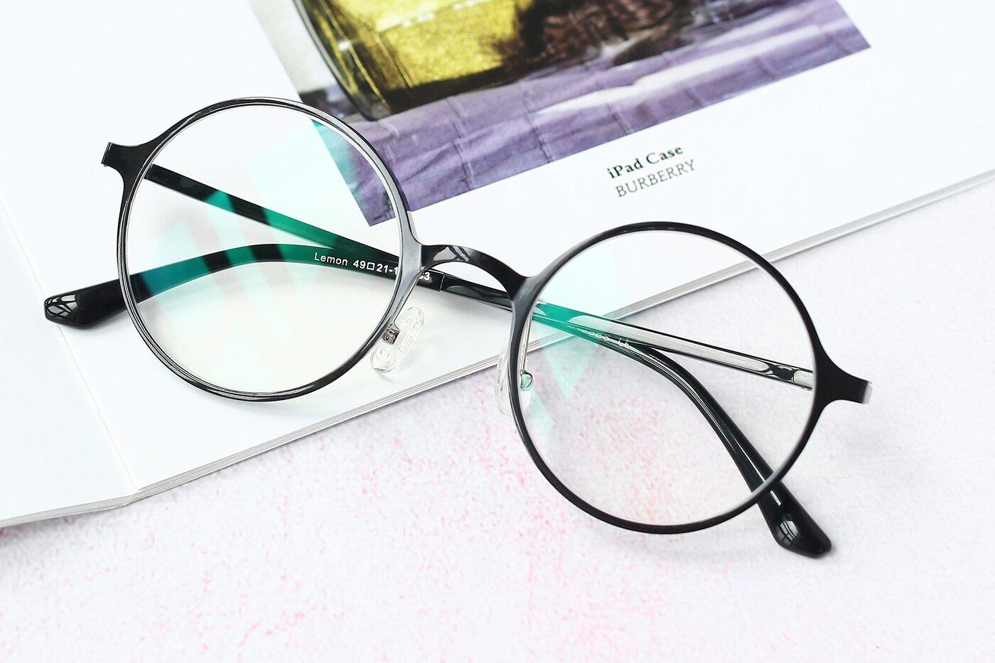 Black Retro-Vintage Thin Round Eyeglasses