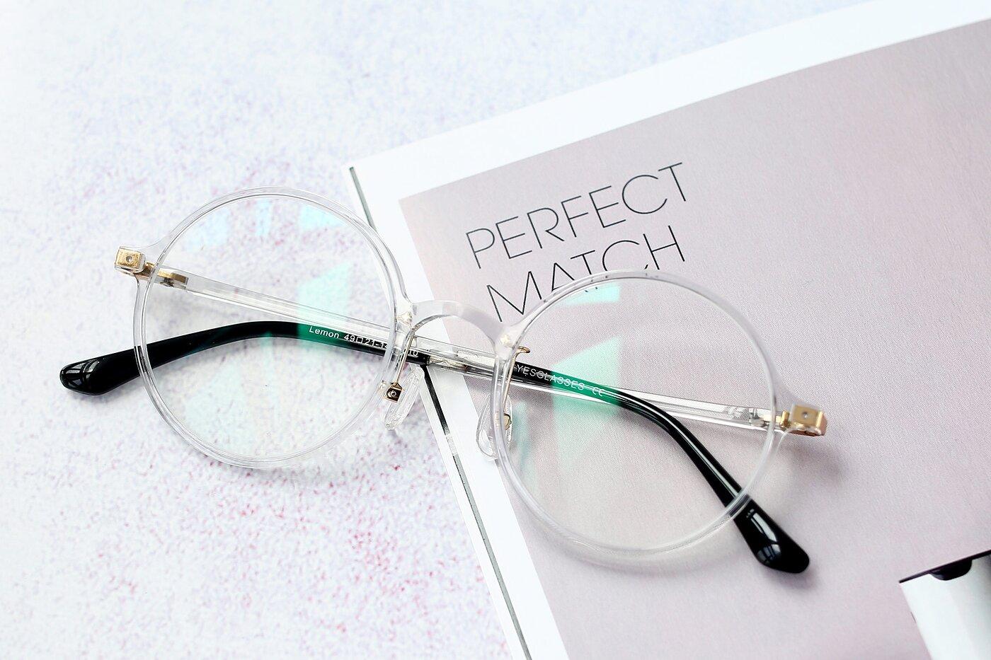 Clear Retro-Vintage Thin Round Eyeglasses