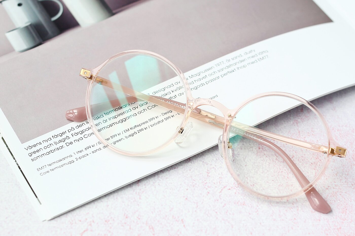 Transparent Pink Retro-Vintage Thin Round Eyeglasses