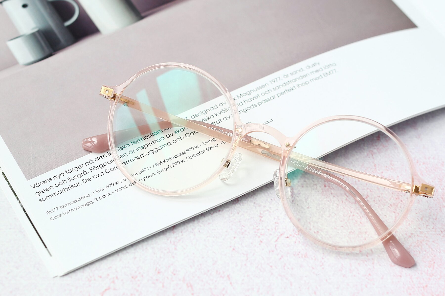 Women's lifestyle photography #1 of Lemon in Transparent Pink with Clear Blue Light Blocking Lenses
