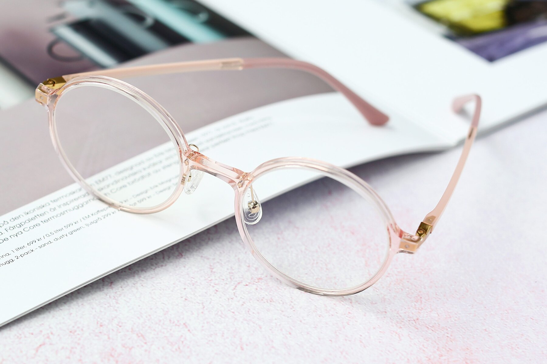 Women's lifestyle photography #2 of S3040 in Transparent Pink with Clear Blue Light Blocking Lenses