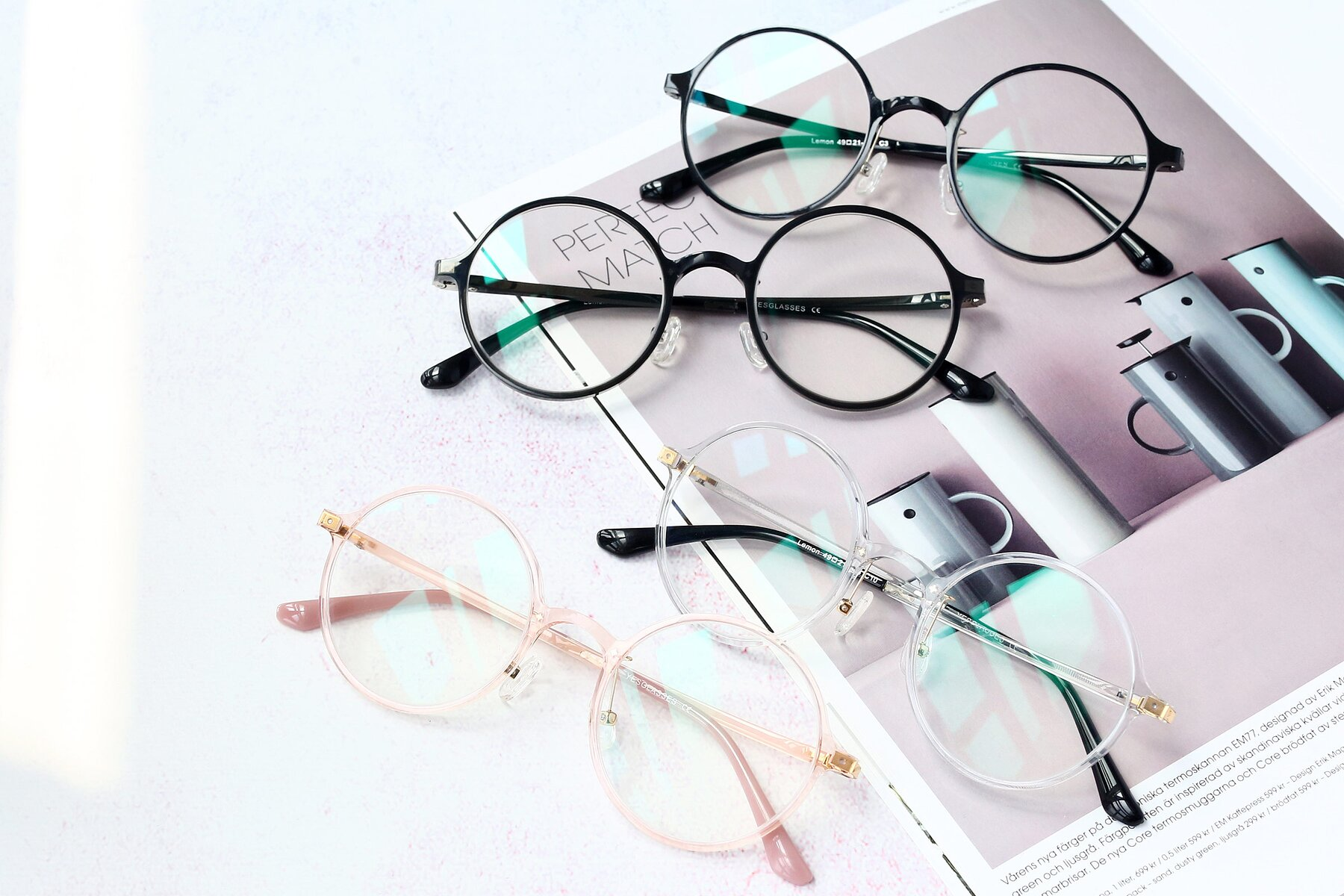 Women's lifestyle photography #4 of Lemon in Transparent Pink with Clear Blue Light Blocking Lenses