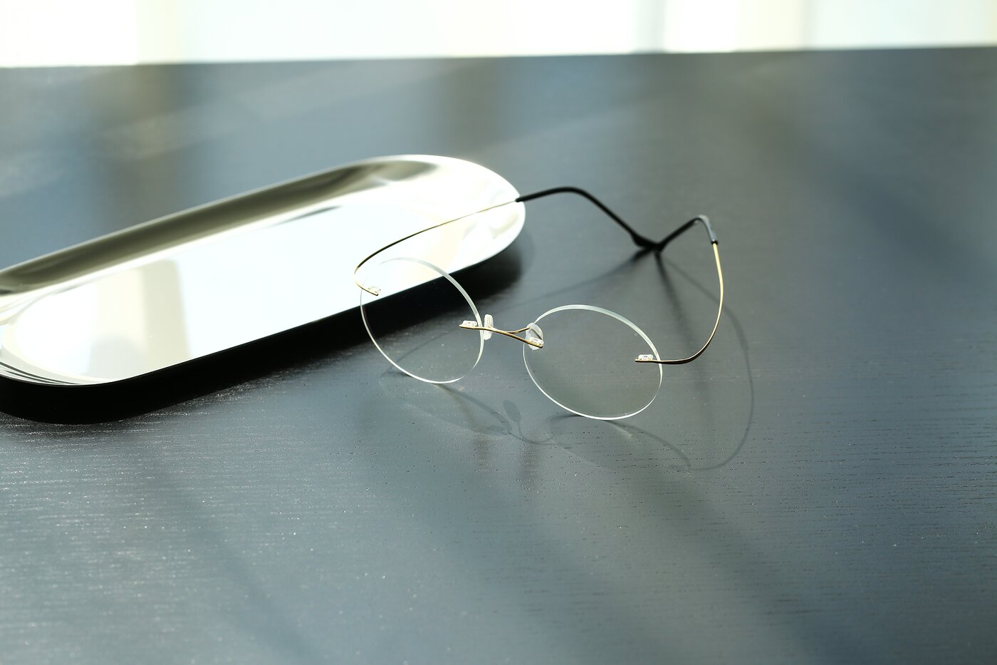 Gold Lightweight Round Rimless Eyeglasses