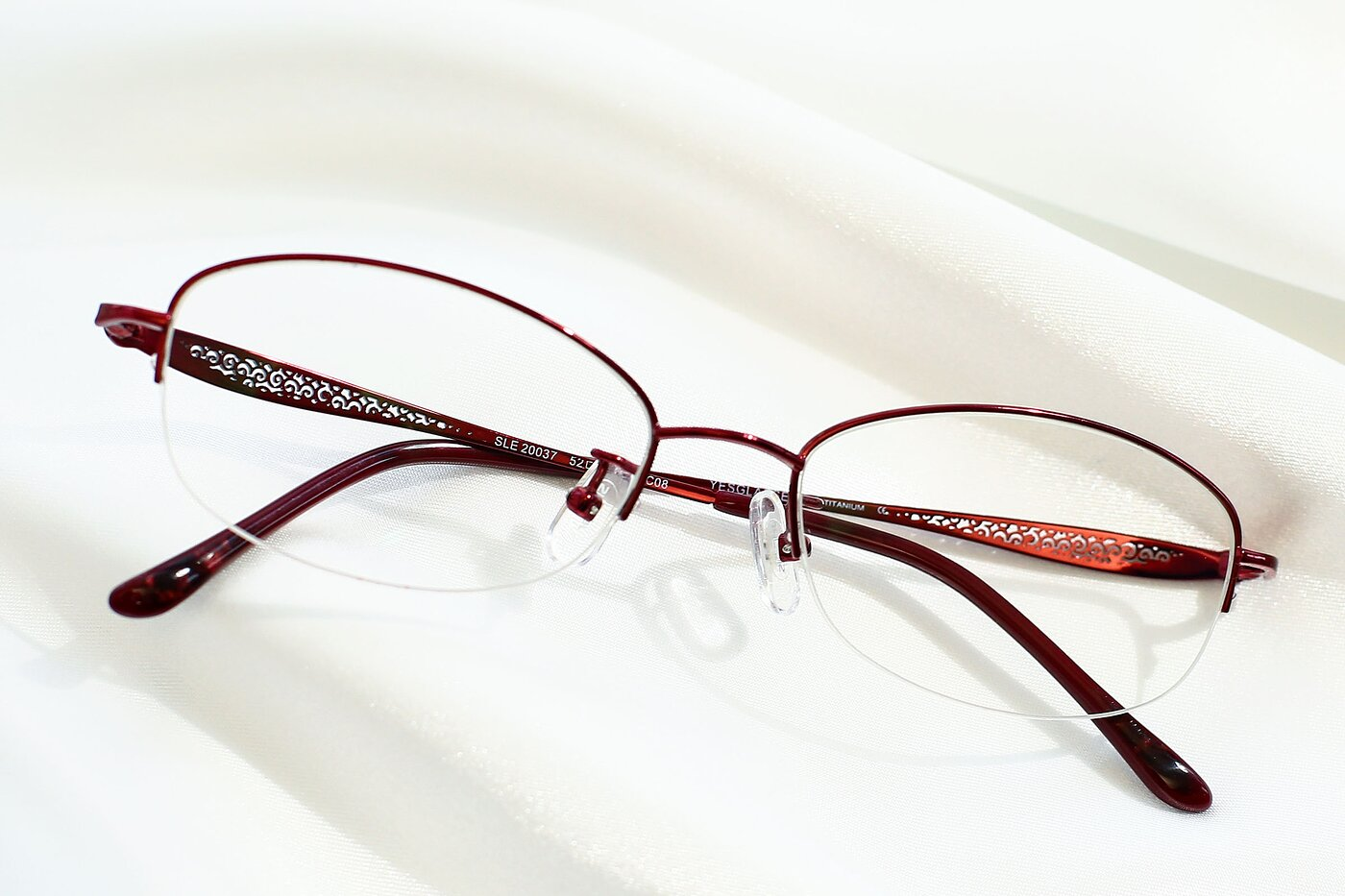Wine Lightweight Oval Semi-Rimless Eyeglasses