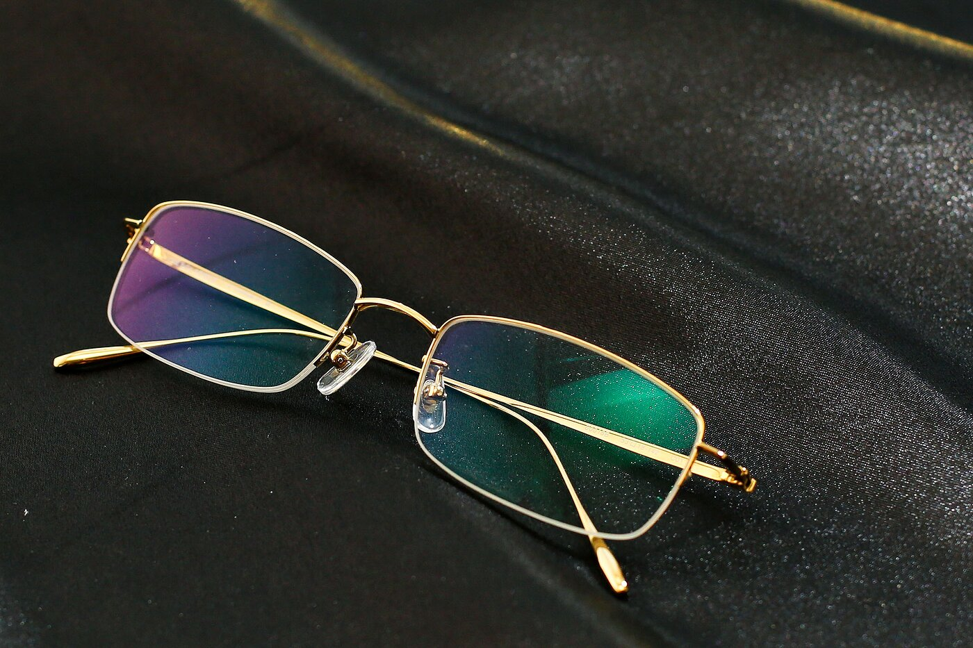 Gold Titanium Rectangle Semi-Rimless Eyeglasses