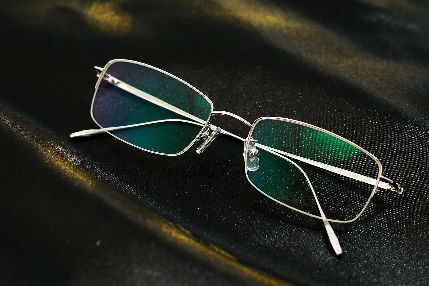 Silver Titanium Rectangle Semi-Rimless Eyeglasses