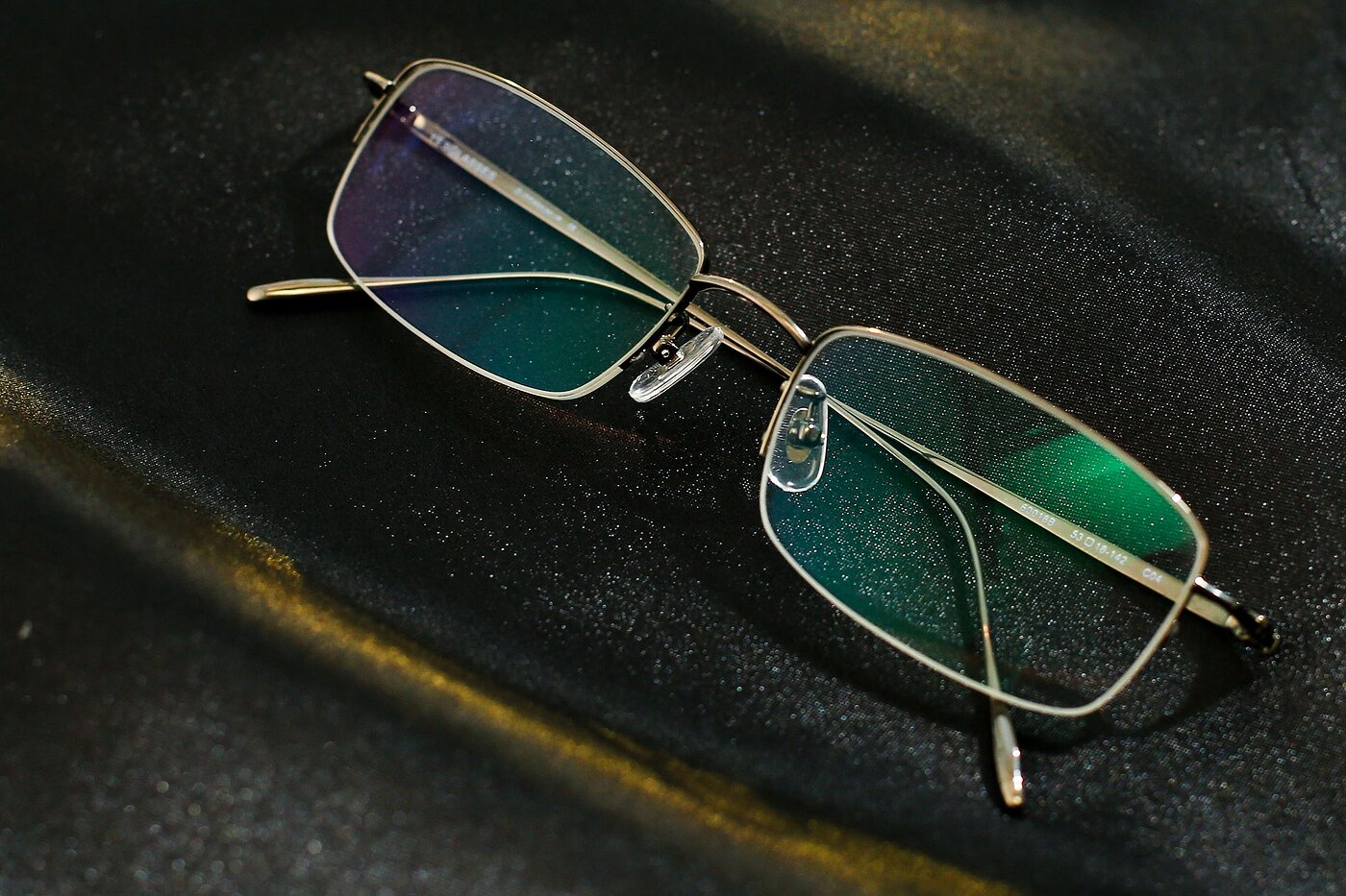 Gun Titanium Rectangle Semi-Rimless Eyeglasses