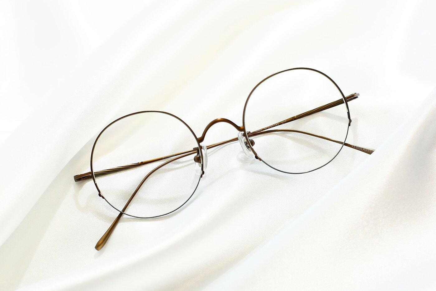 Bronze Retro-Vintage Round Semi-Rimless Eyeglasses