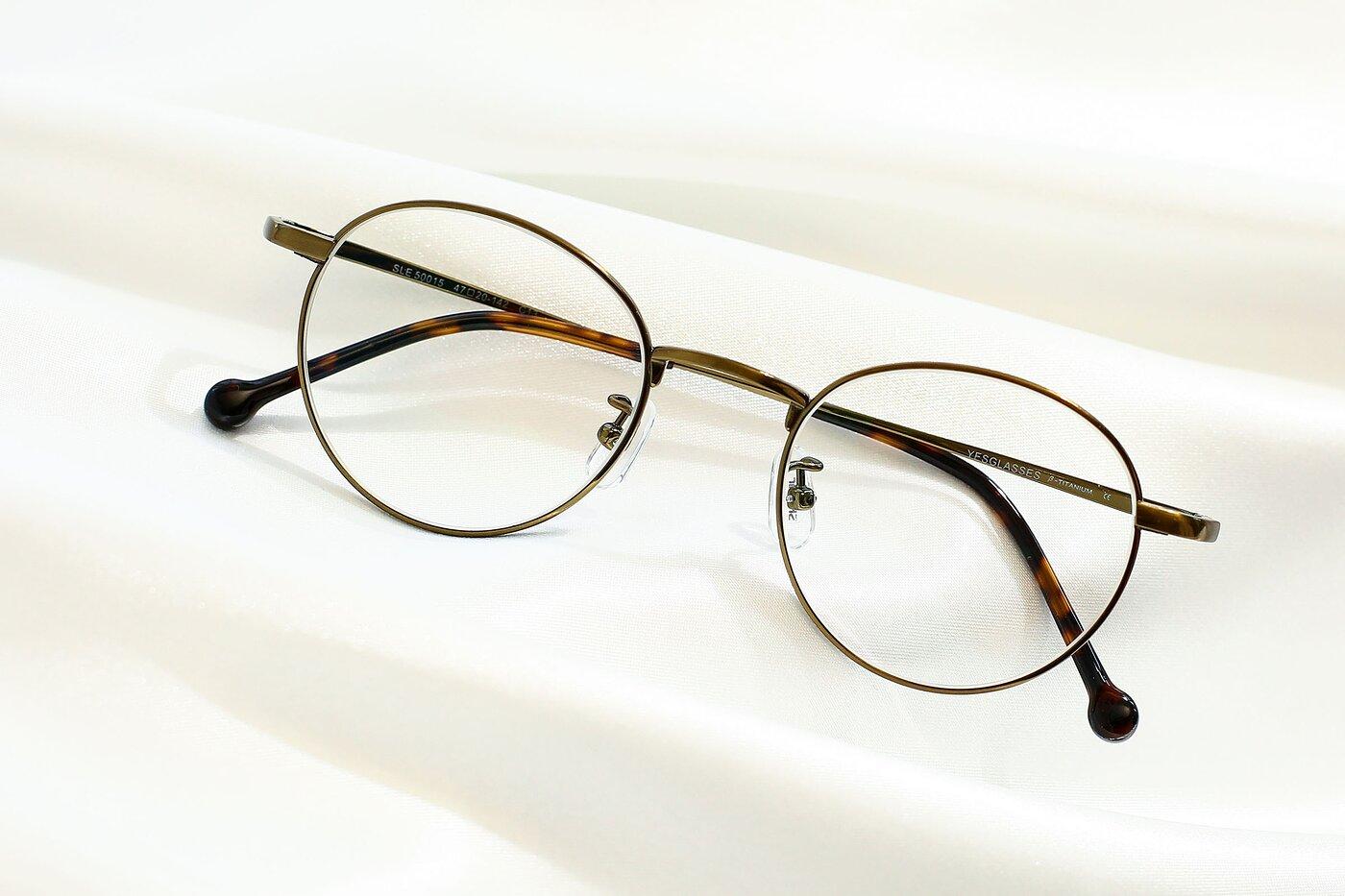 Bronze Retro-Vintage Titanium Round Eyeglasses