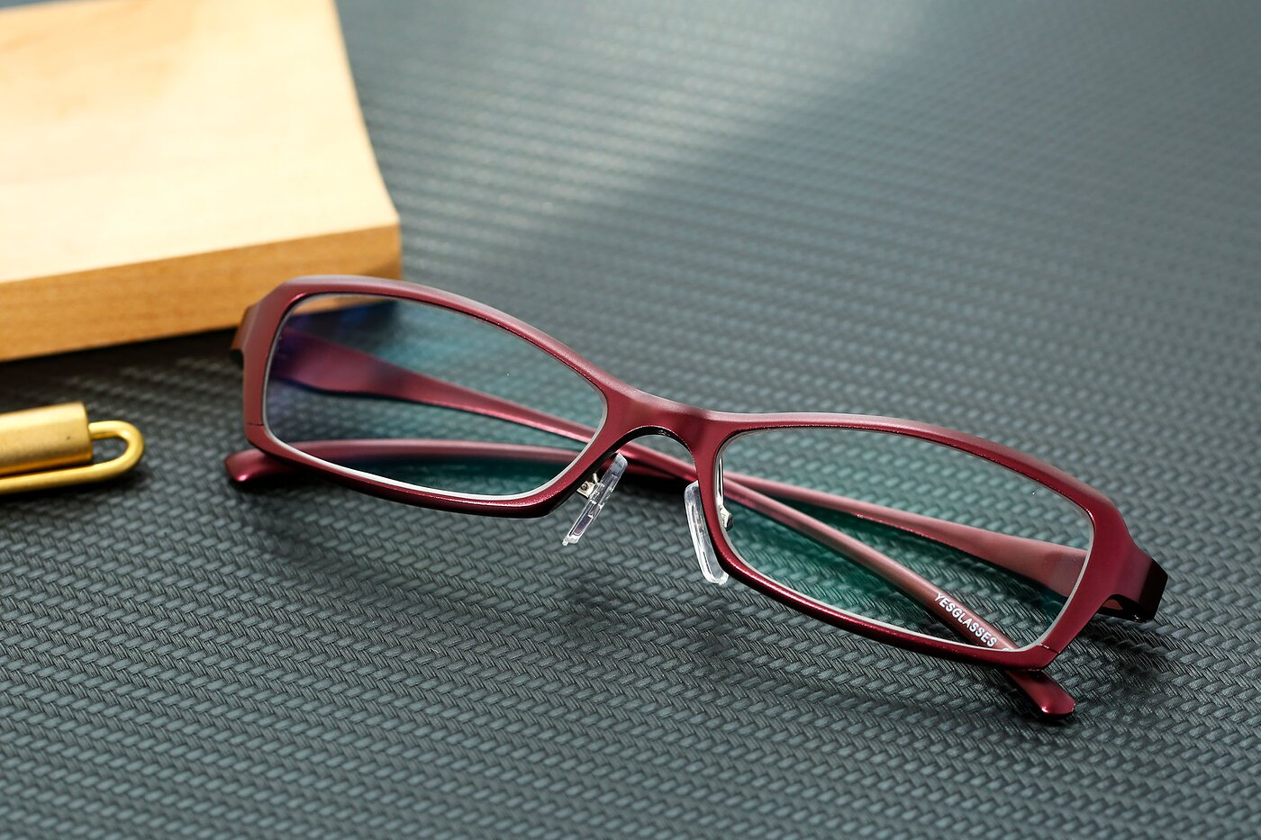 Red Magnesium Alloy Rectangle Full-Rim Eyeglasses