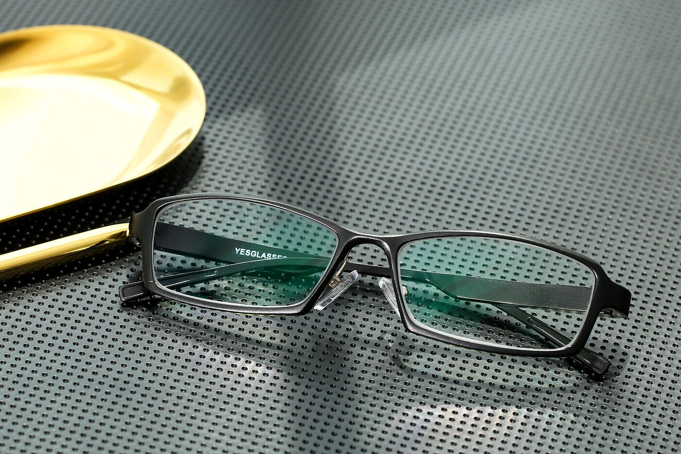 Black Low Bridge Fit Magnesium Alloy Rectangle Eyeglasses