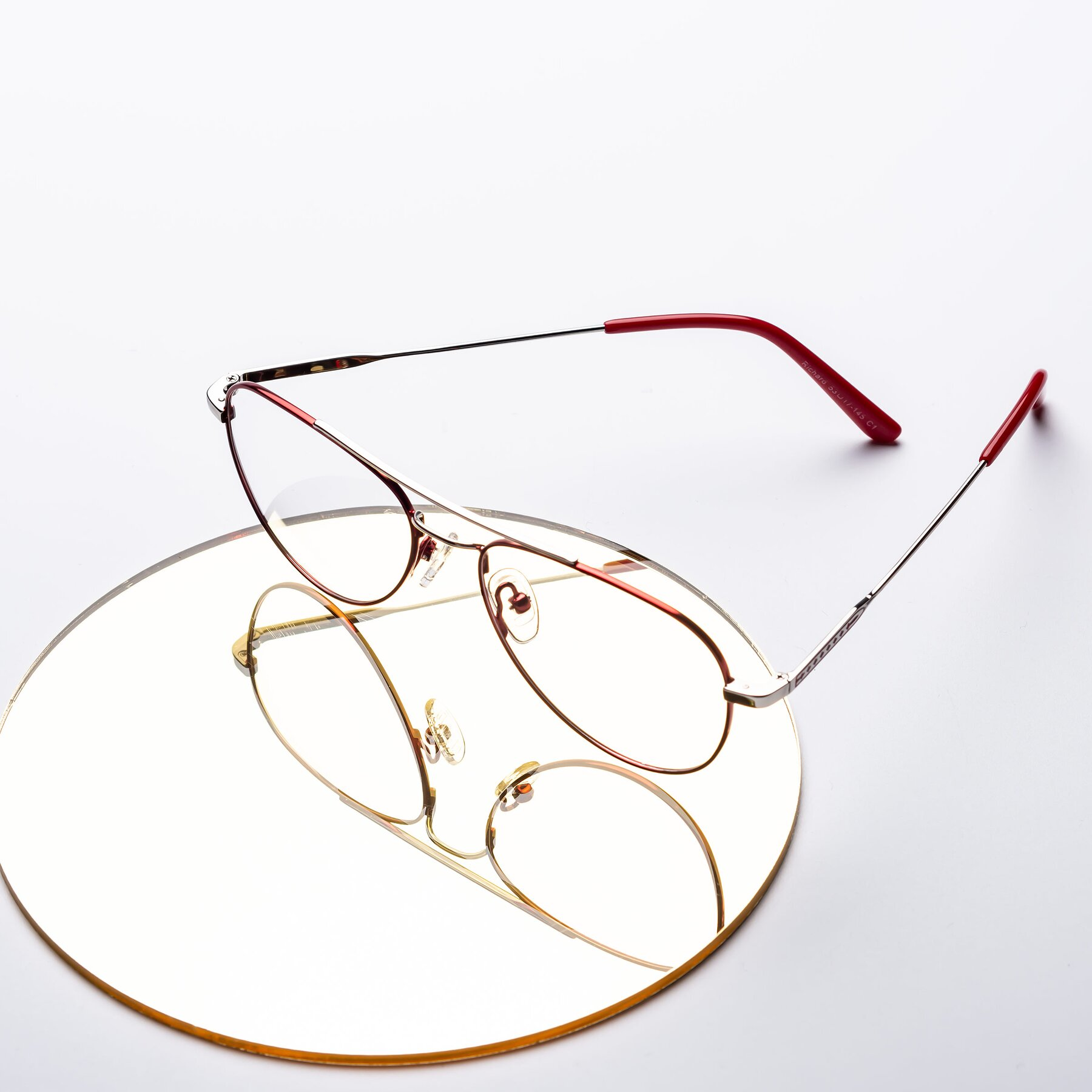 Women's lifestyle photography #1 of Richard in Red-Silver with Clear Eyeglass Lenses