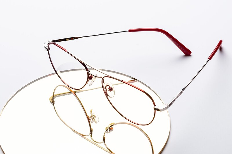 Red-Silver Lightweight Metal Aviator Eyeglasses