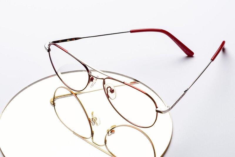 Red-Silver Lightweight Metal Aviator Eyeglasses
