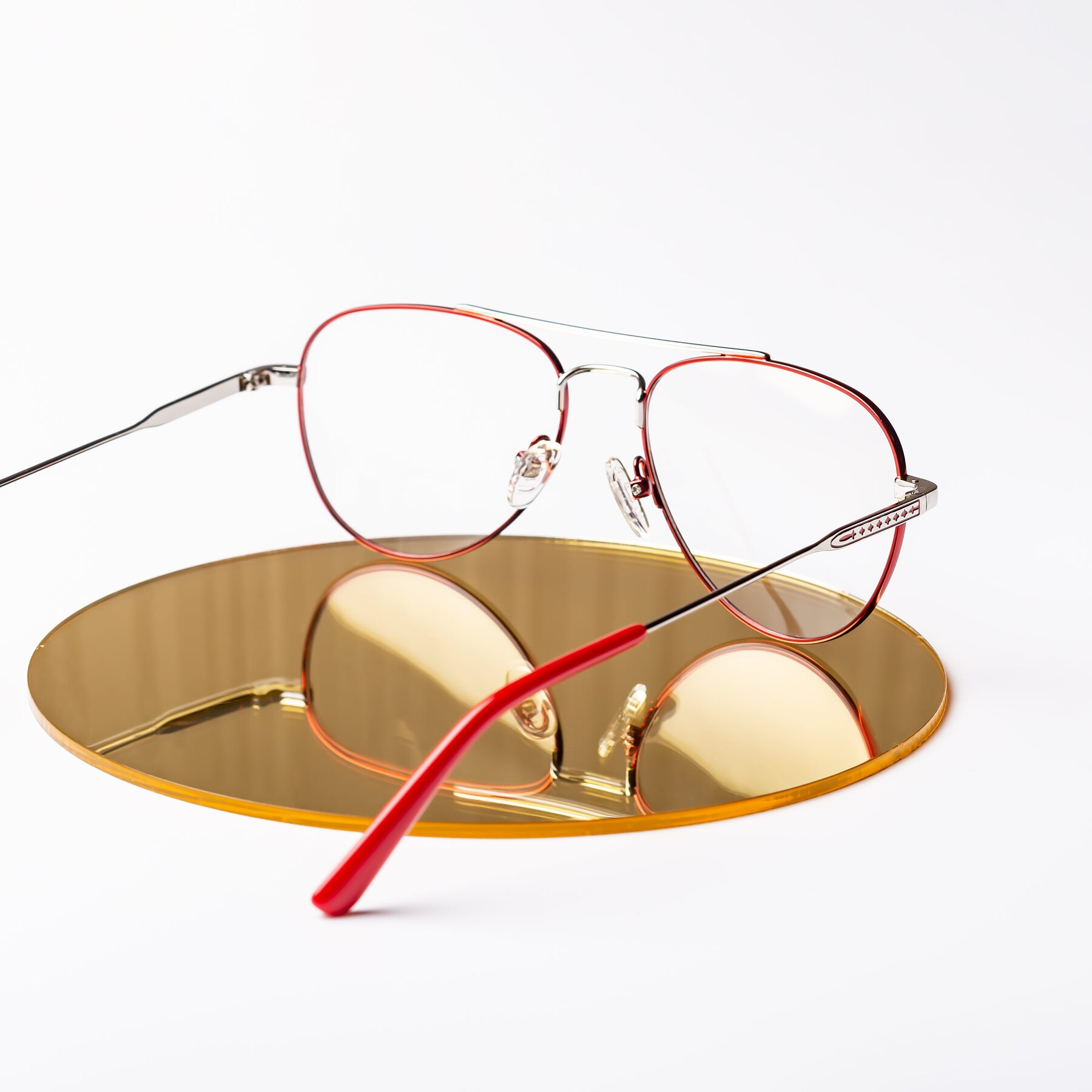Women's lifestyle photography #2 of Richard in Red-Silver with Clear Eyeglass Lenses