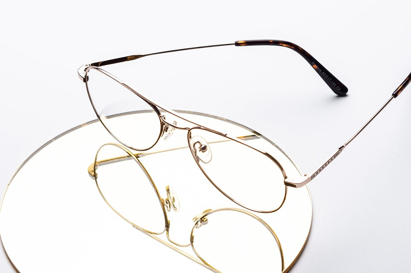 Gold Lightweight Metal Aviator Eyeglasses