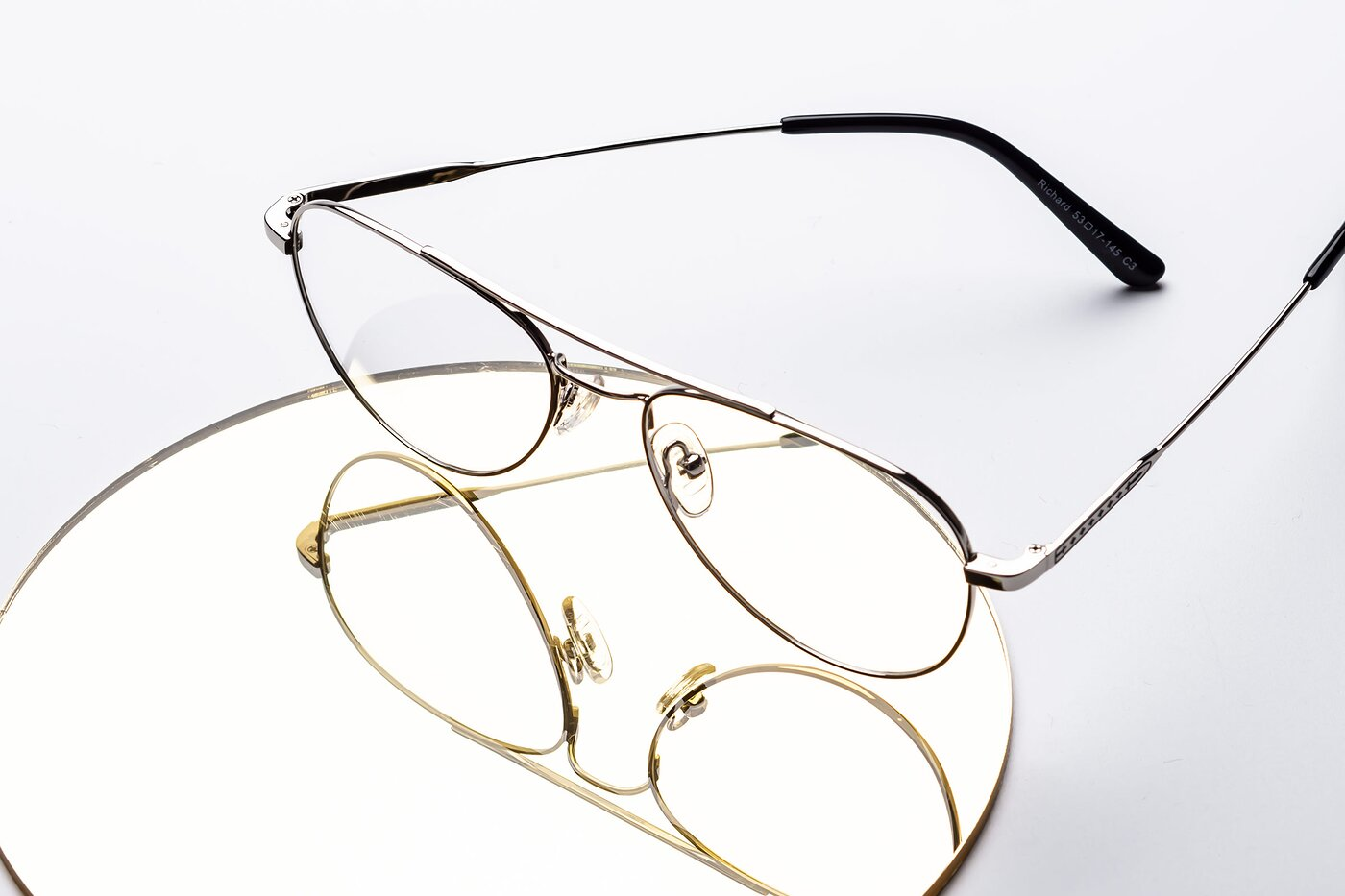 Silver Lightweight Metal Aviator Eyeglasses