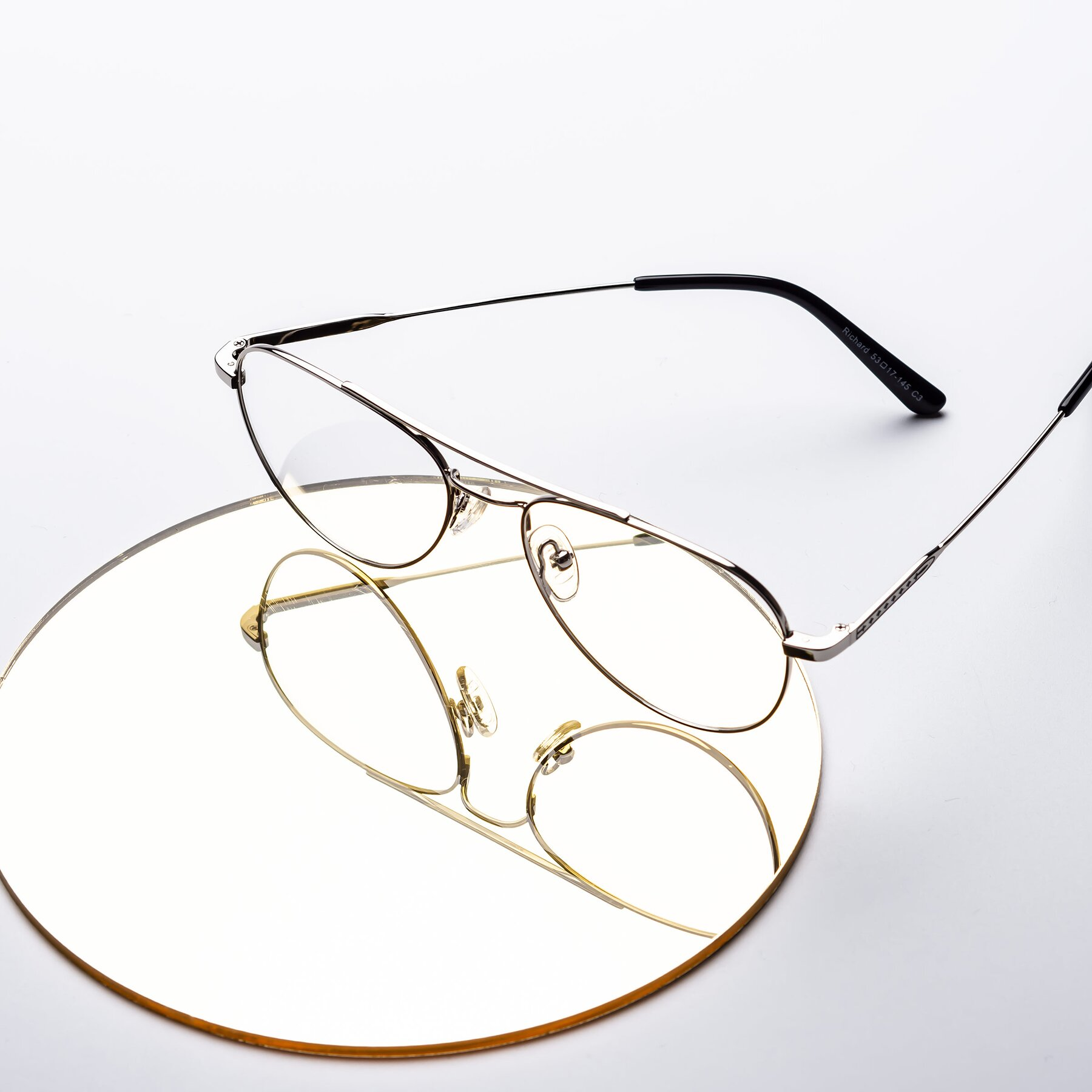 Lifestyle photography #1 of Richard in Silver with Clear Eyeglass Lenses