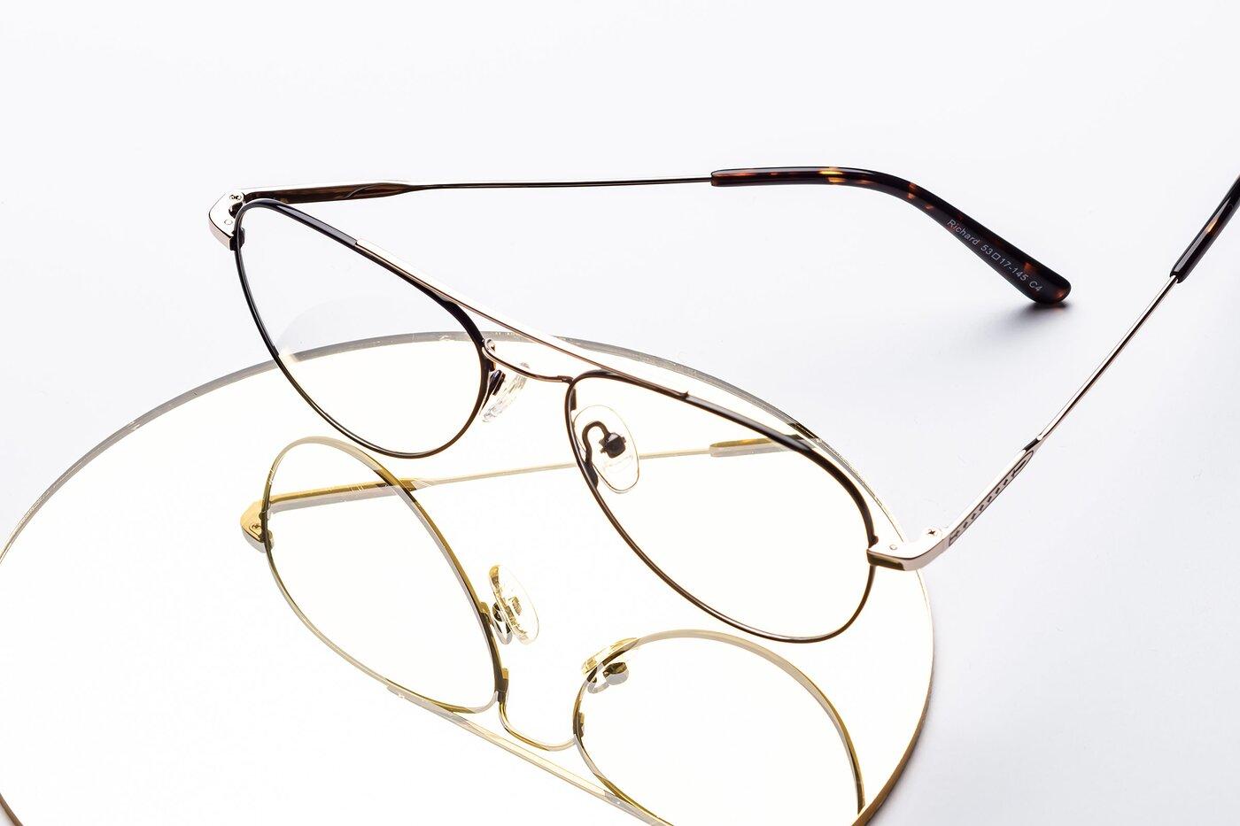 Black-Gold Lightweight Metal Aviator Eyeglasses