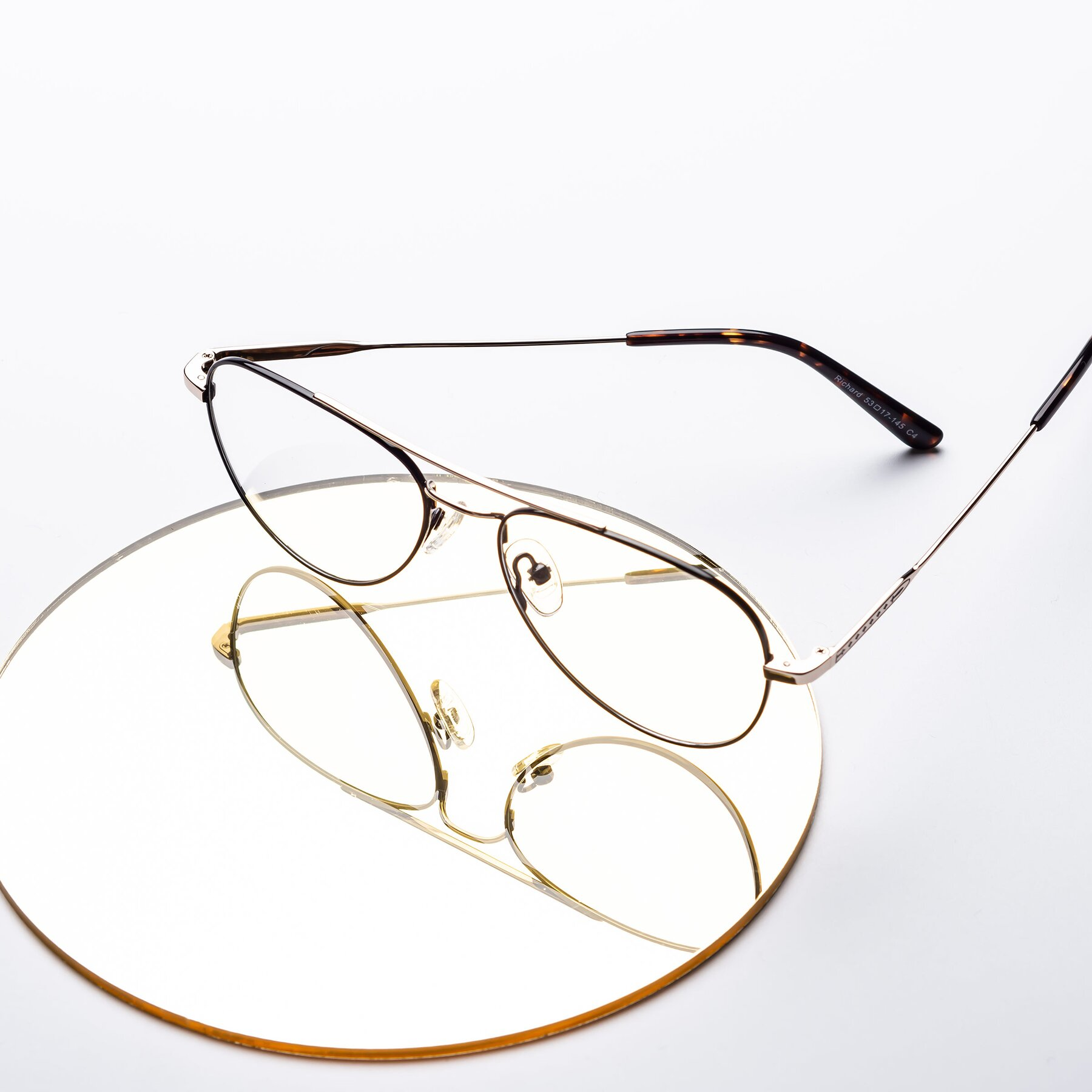 Lifestyle photography #1 of Richard in Black-Gold with Clear Eyeglass Lenses