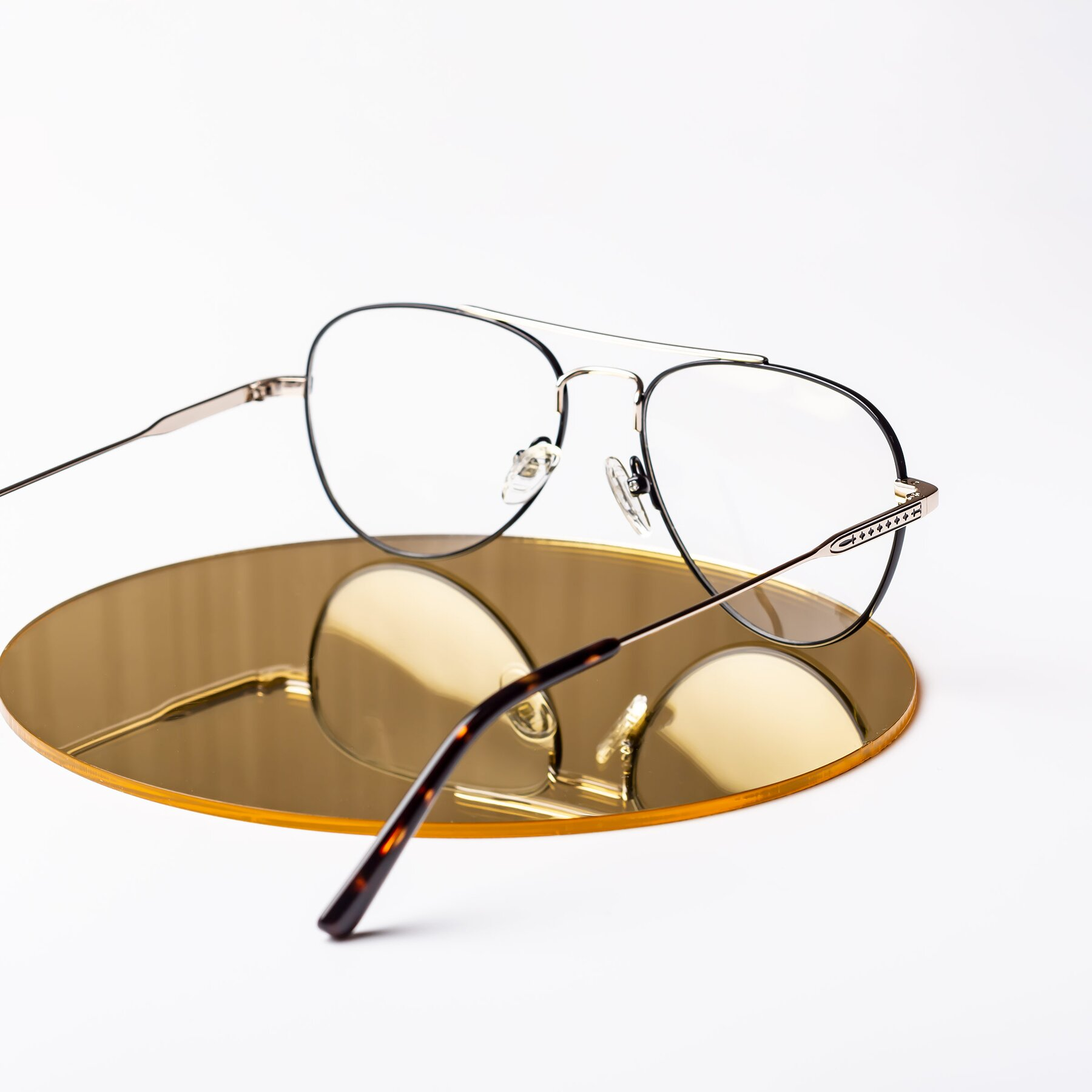 Lifestyle photography #2 of Richard in Black-Gold with Clear Eyeglass Lenses