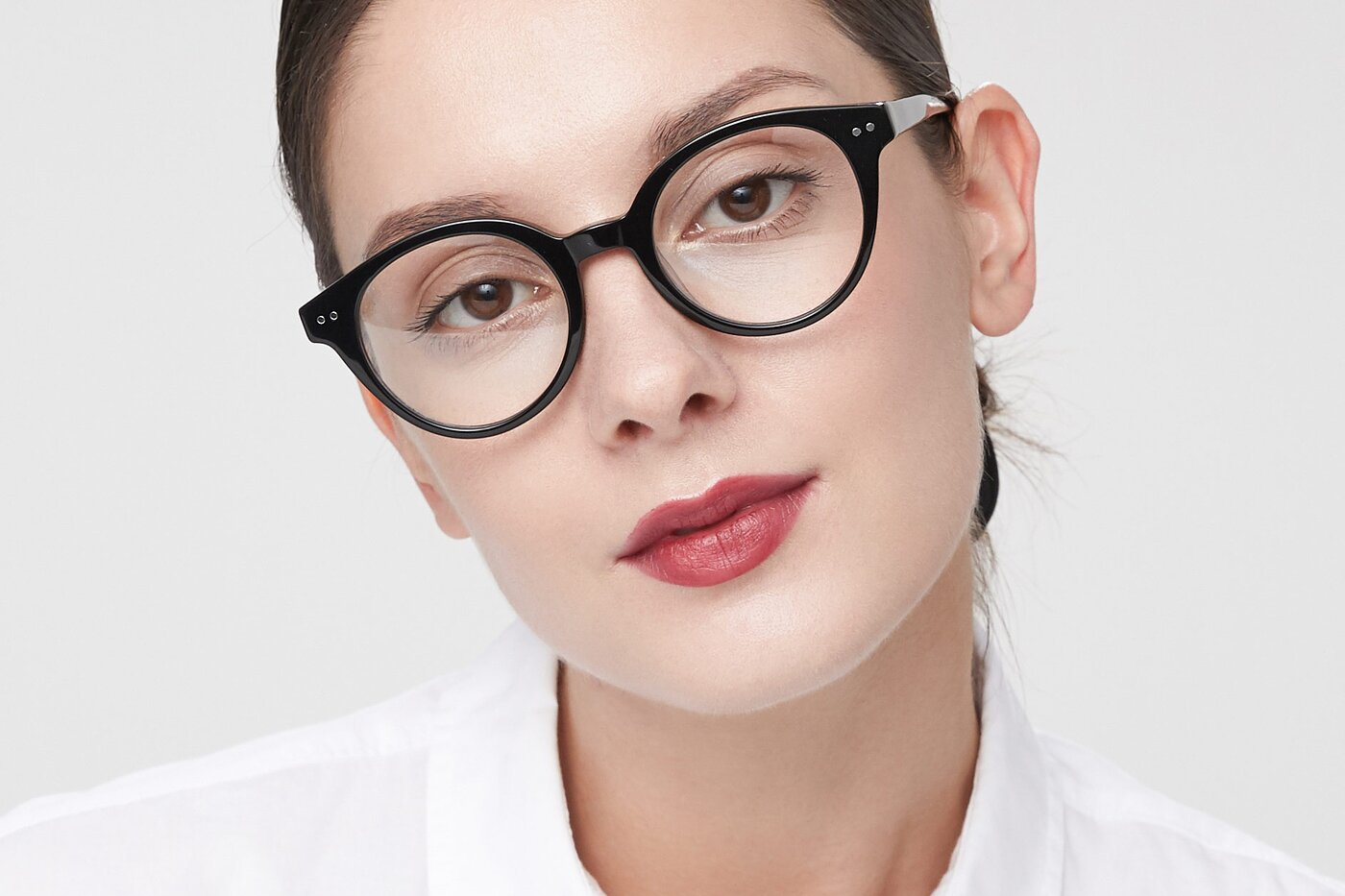 Black Narrow Horn-Rimmed Round Eyeglasses