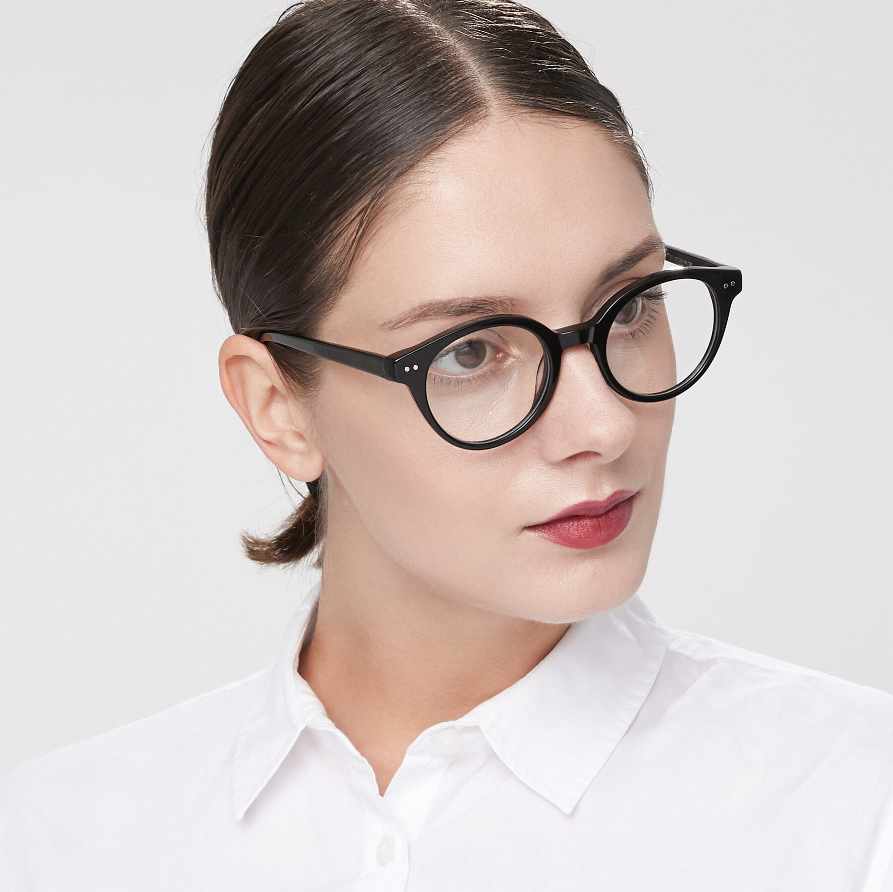 Women's lifestyle photography of 17277 in Black with Clear Blue Light Blocking Lenses