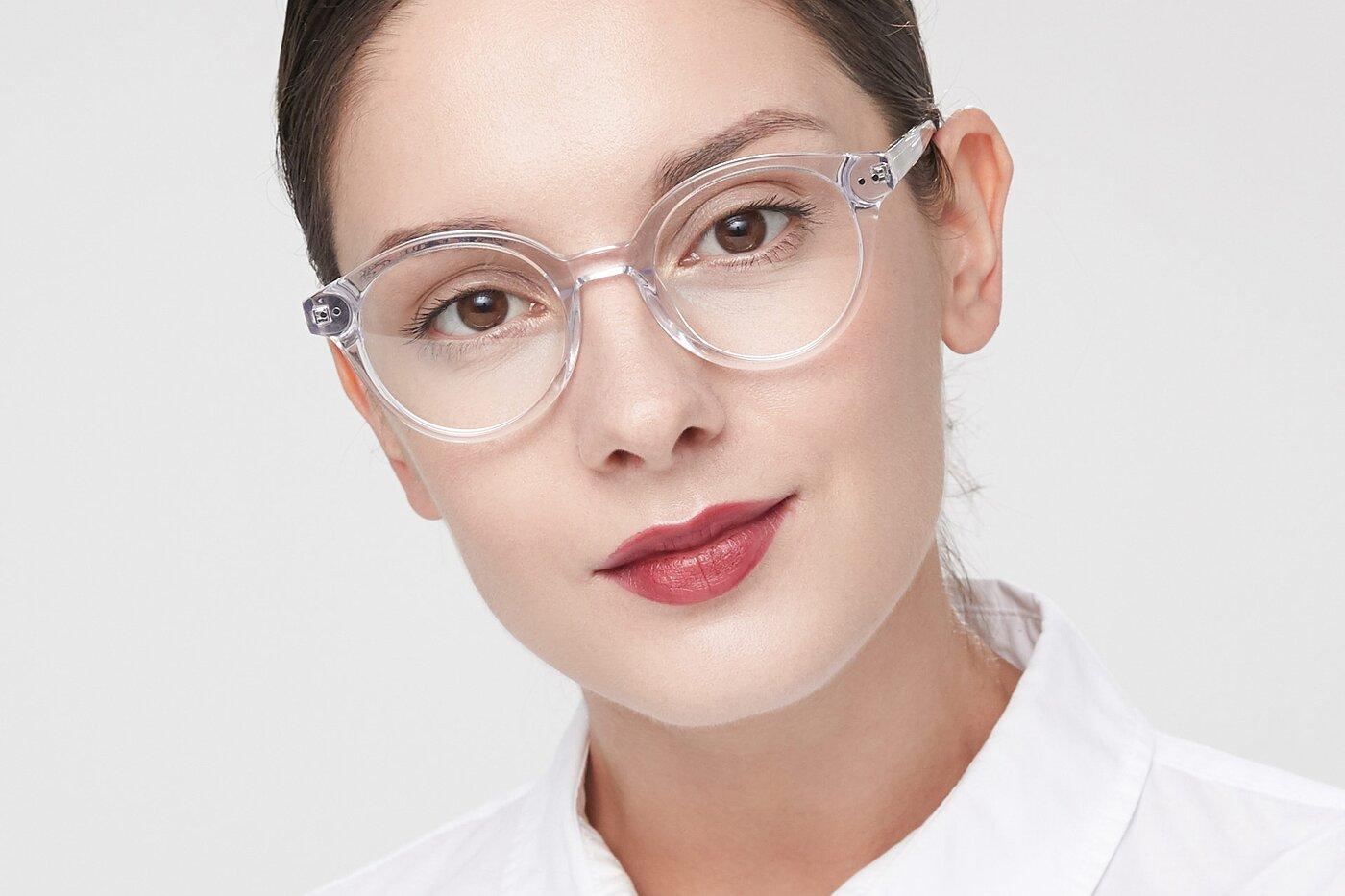 Clear Narrow Horn-Rimmed Round Eyeglasses