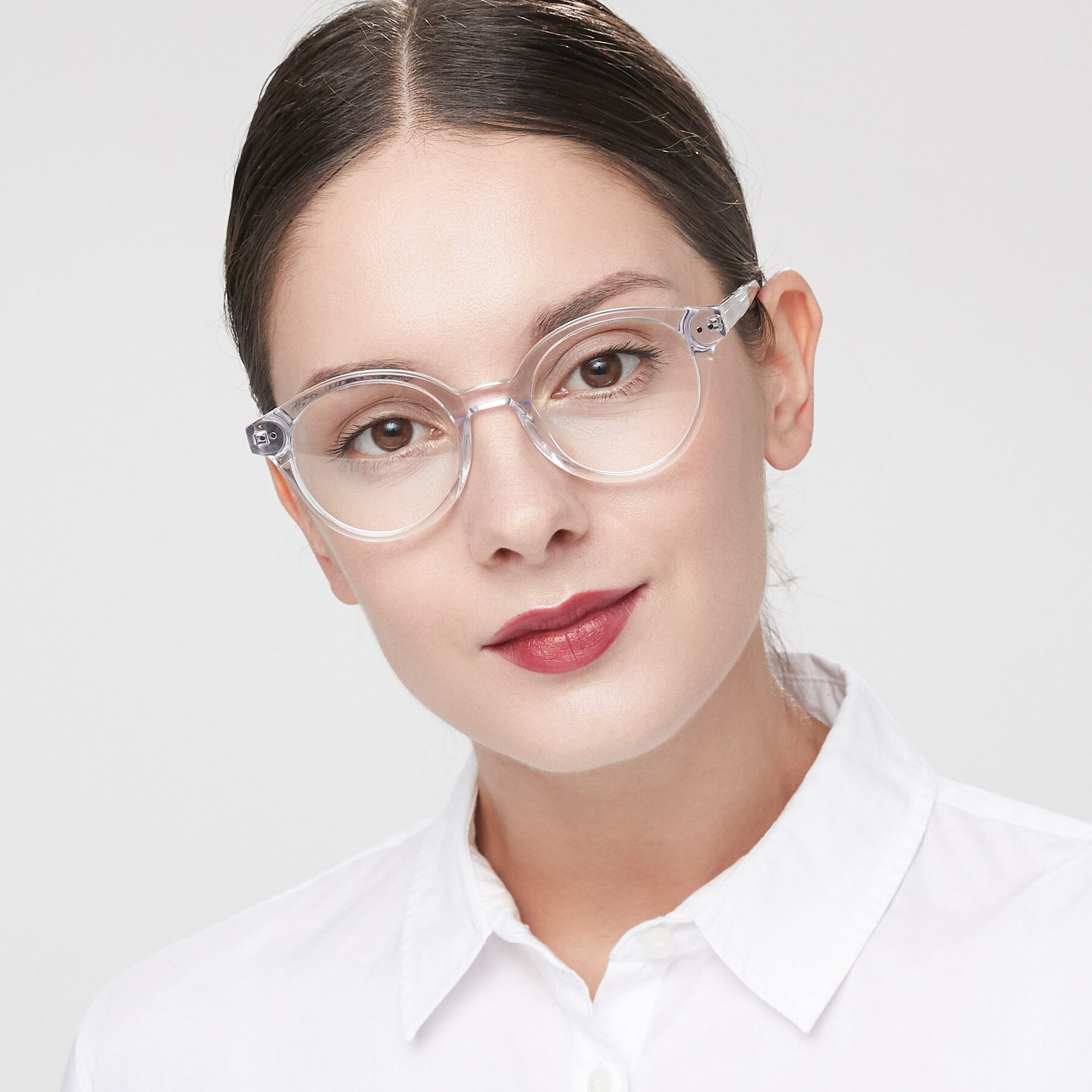 Women's lifestyle photography of 17277 in Clear with Clear Blue Light Blocking Lenses